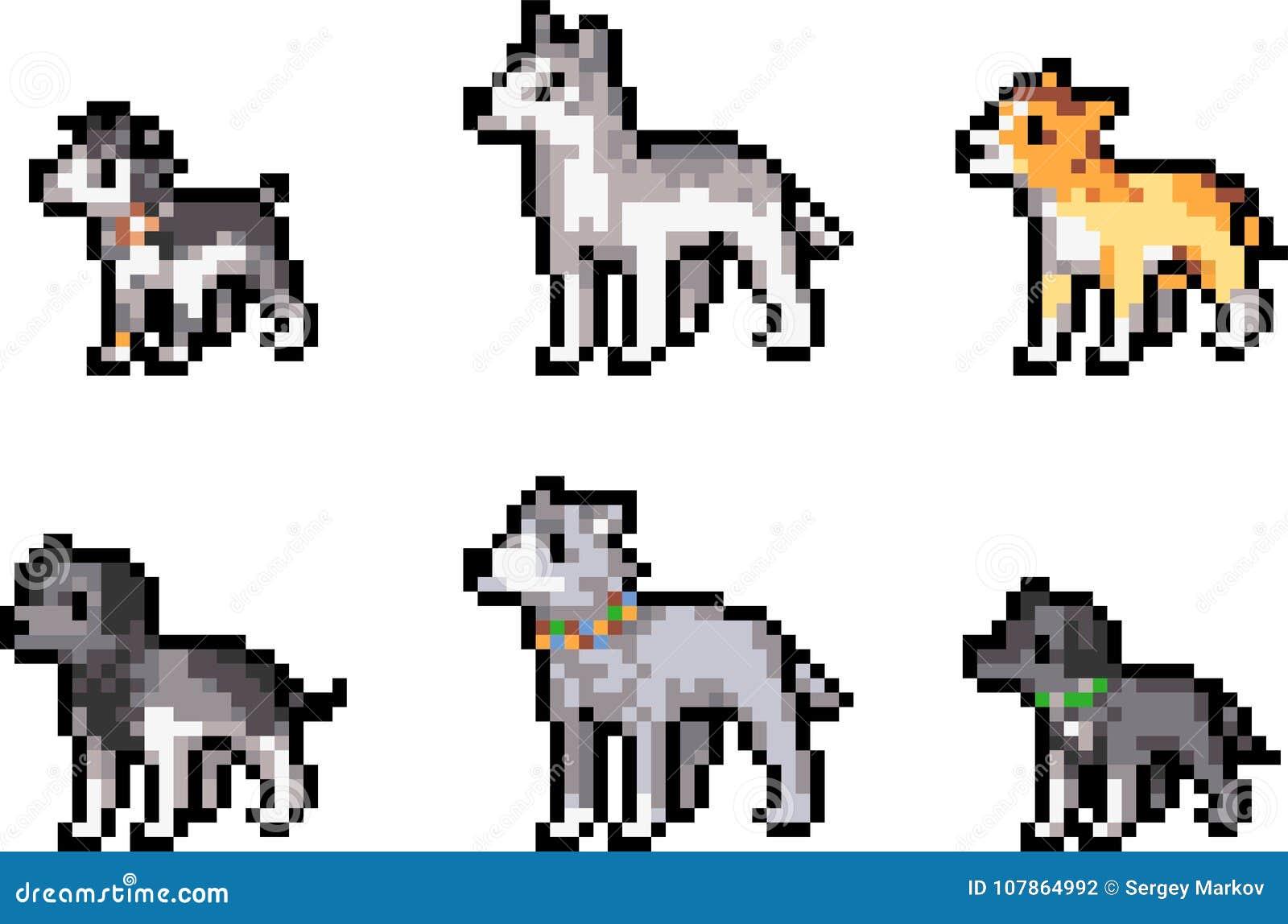 Grupo de cães do pixel