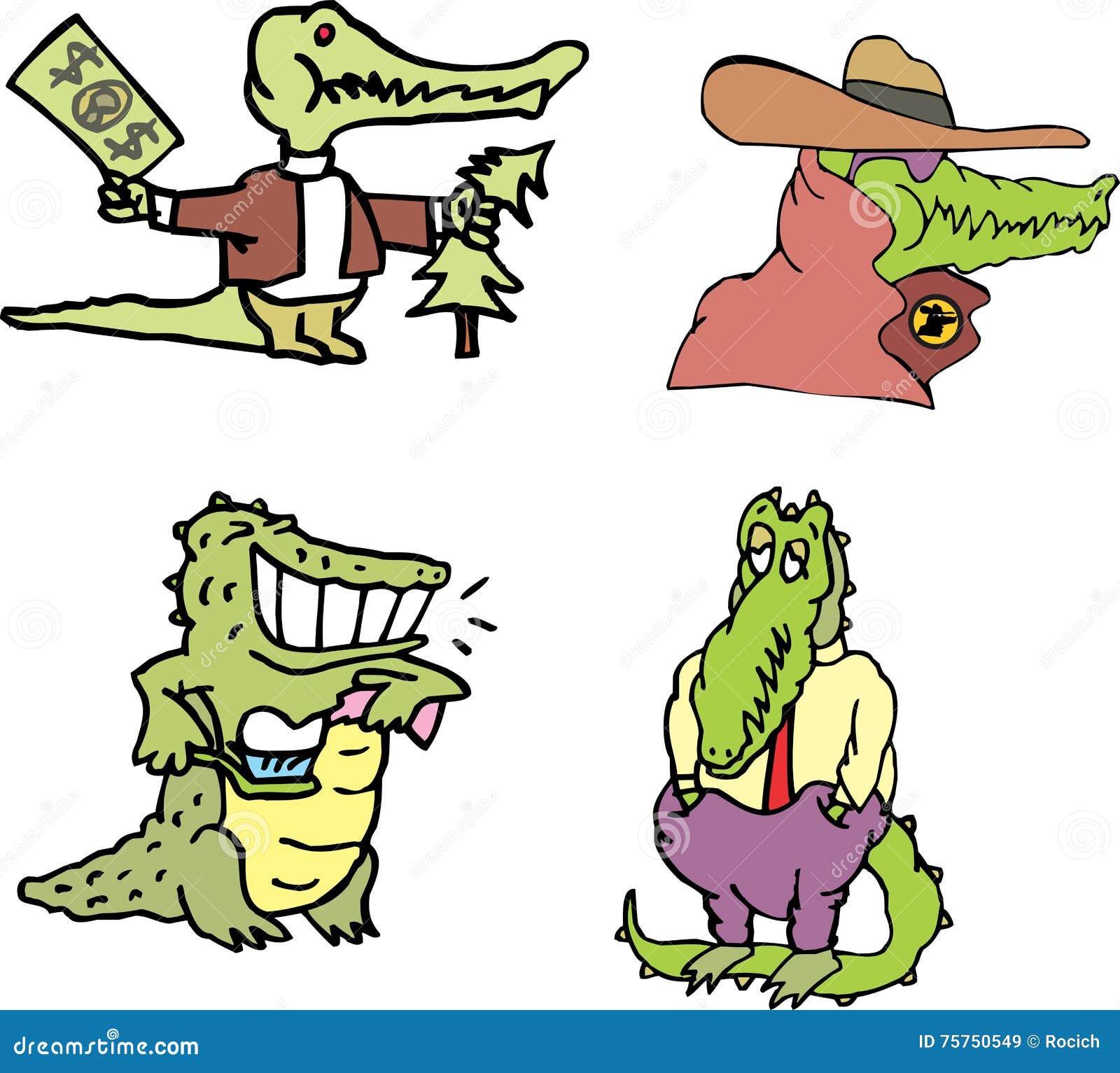 Grupo de cômico humano-como jacarés (crocomen)