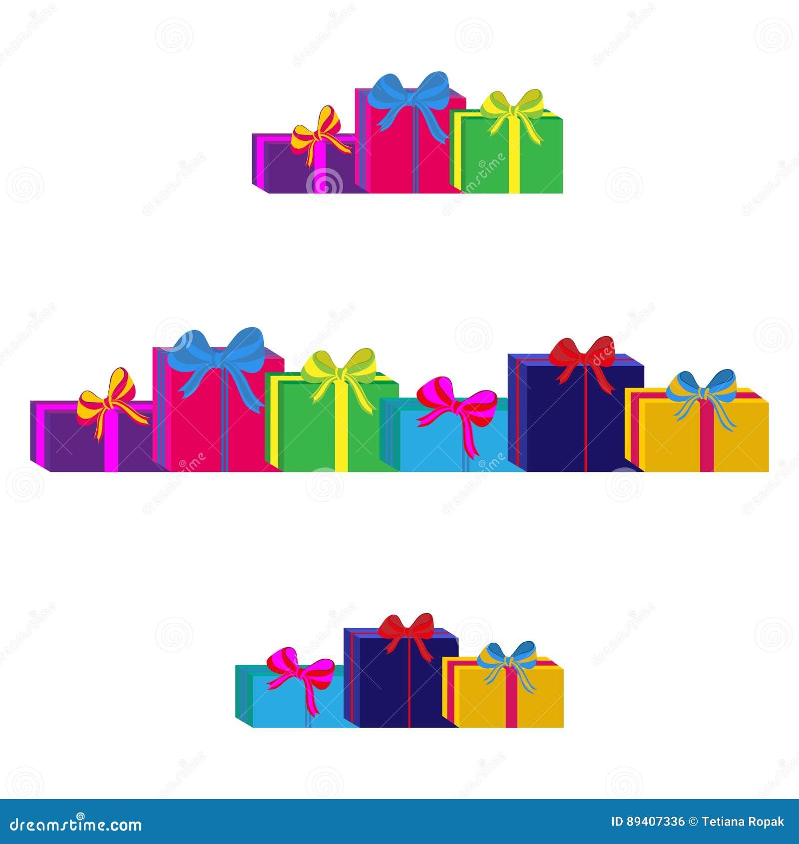 Grupo de caixas de presente envolvidas coloridas diferentes Projeto liso Presente bonito com curva Símbolo e ícone para a caixa d