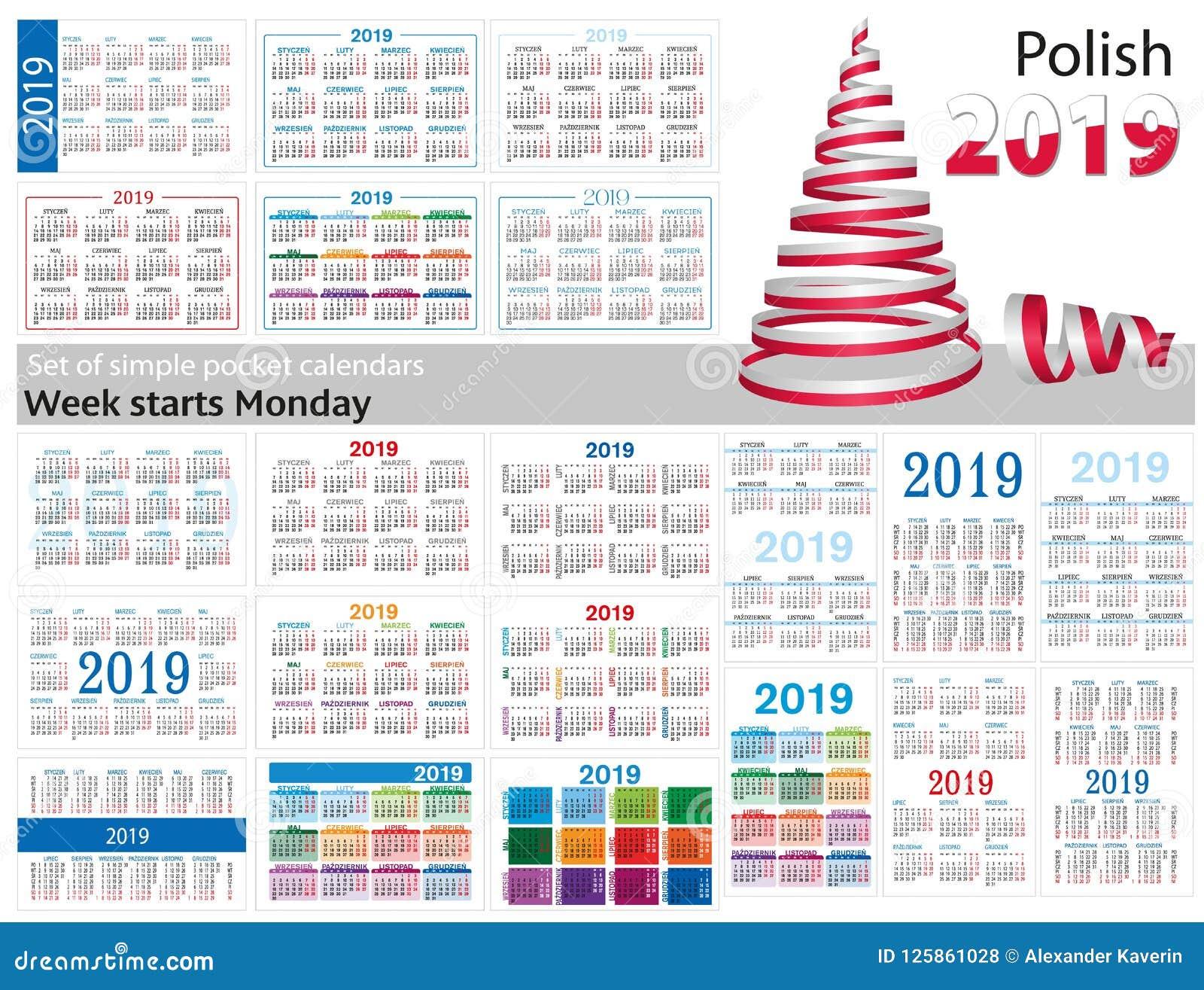 Grupo de calendários simples do bolso para 2019 dois mil dezenove A semana começa segunda-feira Tradução do polonês -