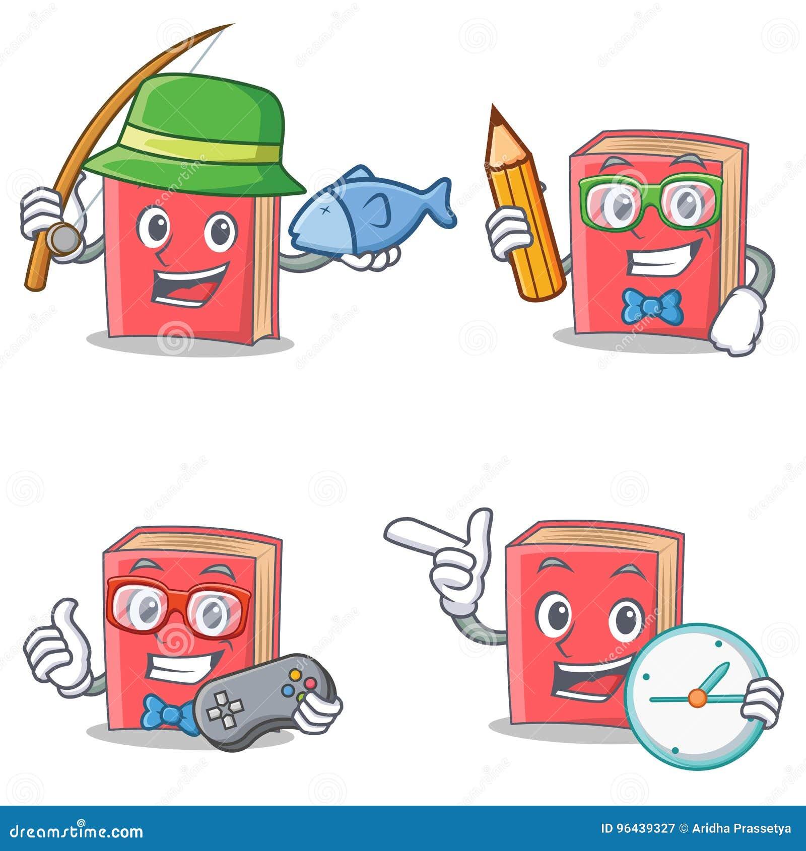 Grupo de caráter vermelho do livro com o pulso de disparo do gamer do estudante da pesca