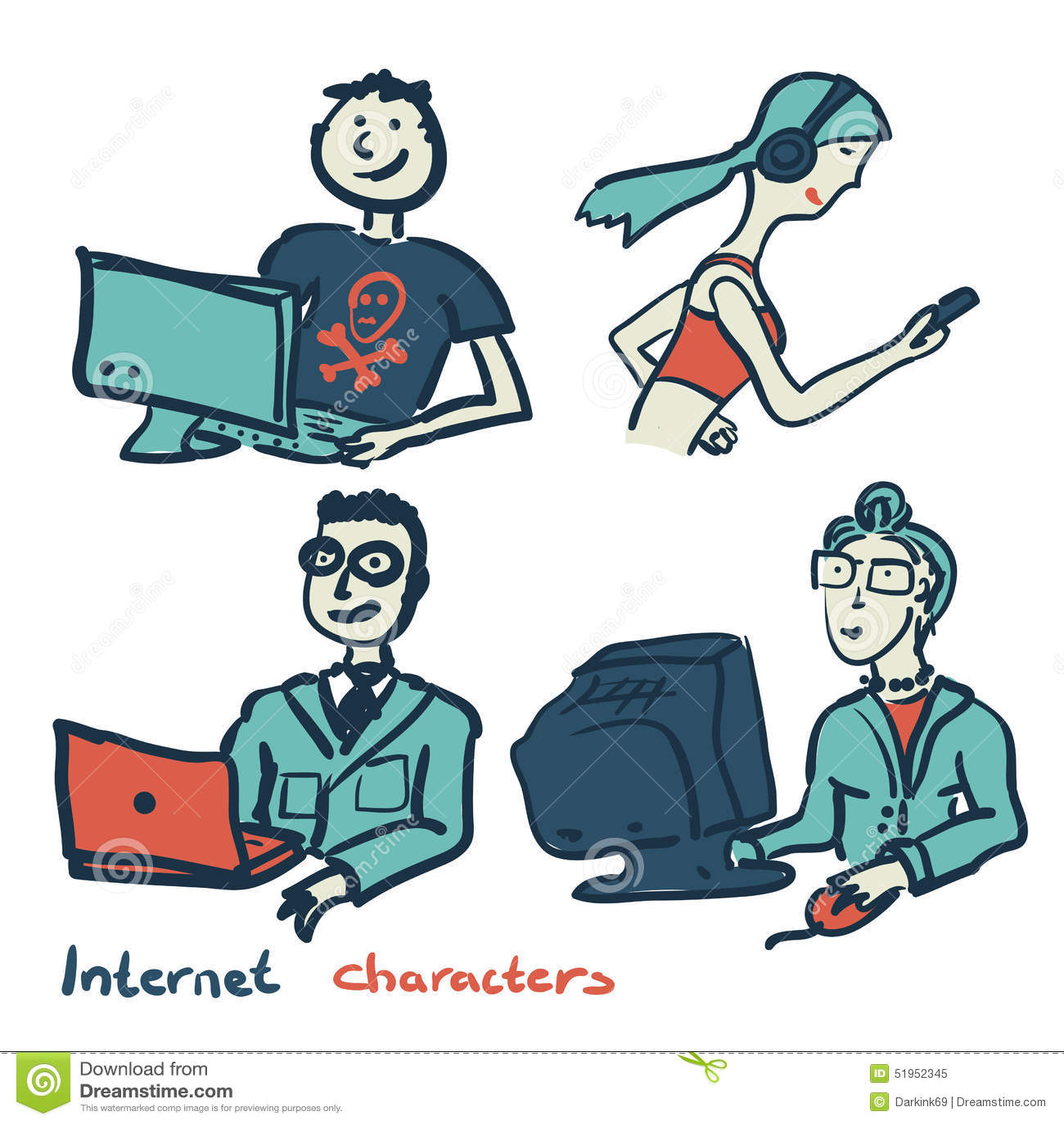 Grupo de caráteres no tema da tecnologia e do dispositivo do Internet