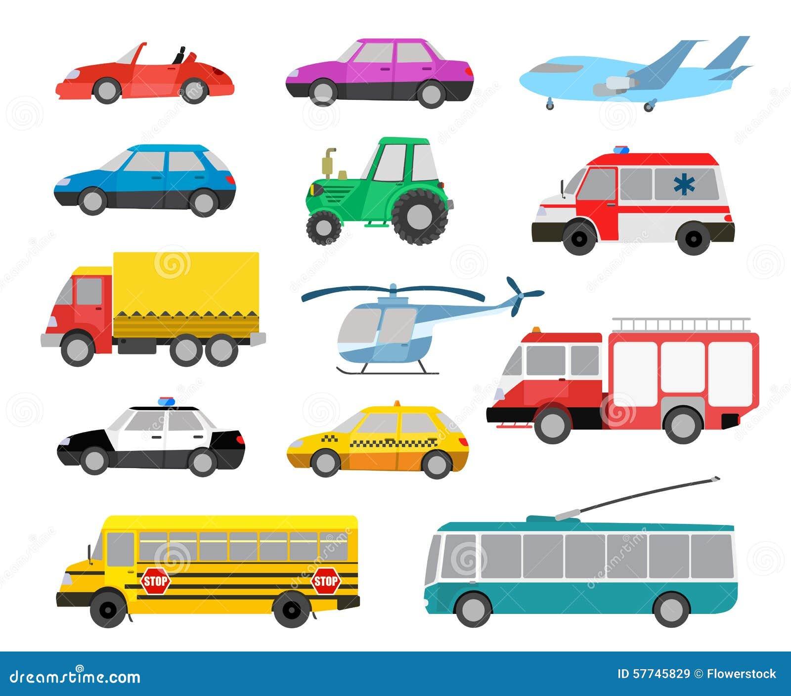 grupo de carros bonitos e de veículos dos desenhos animados