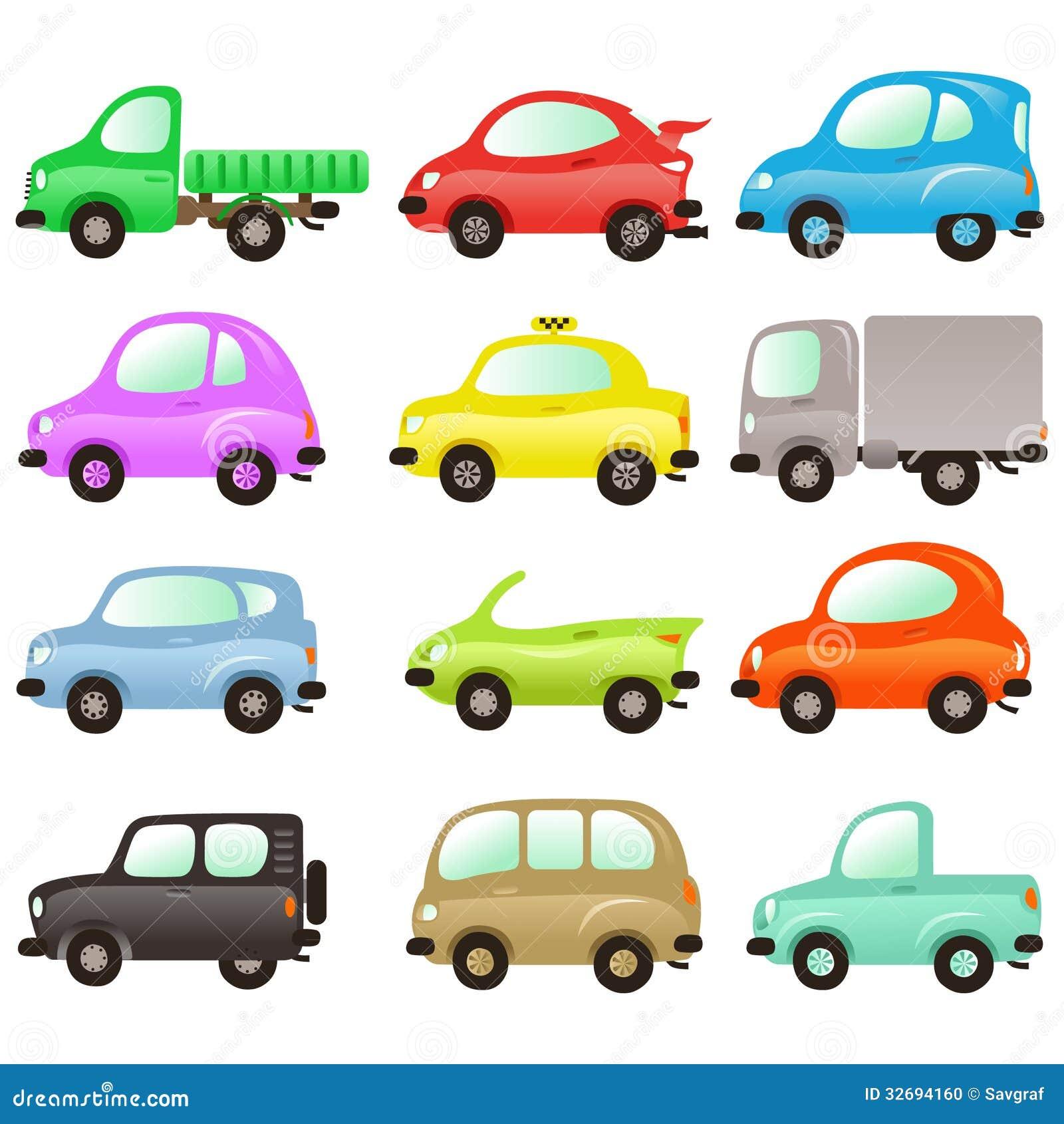 Grupo de carros coloridos do vetor