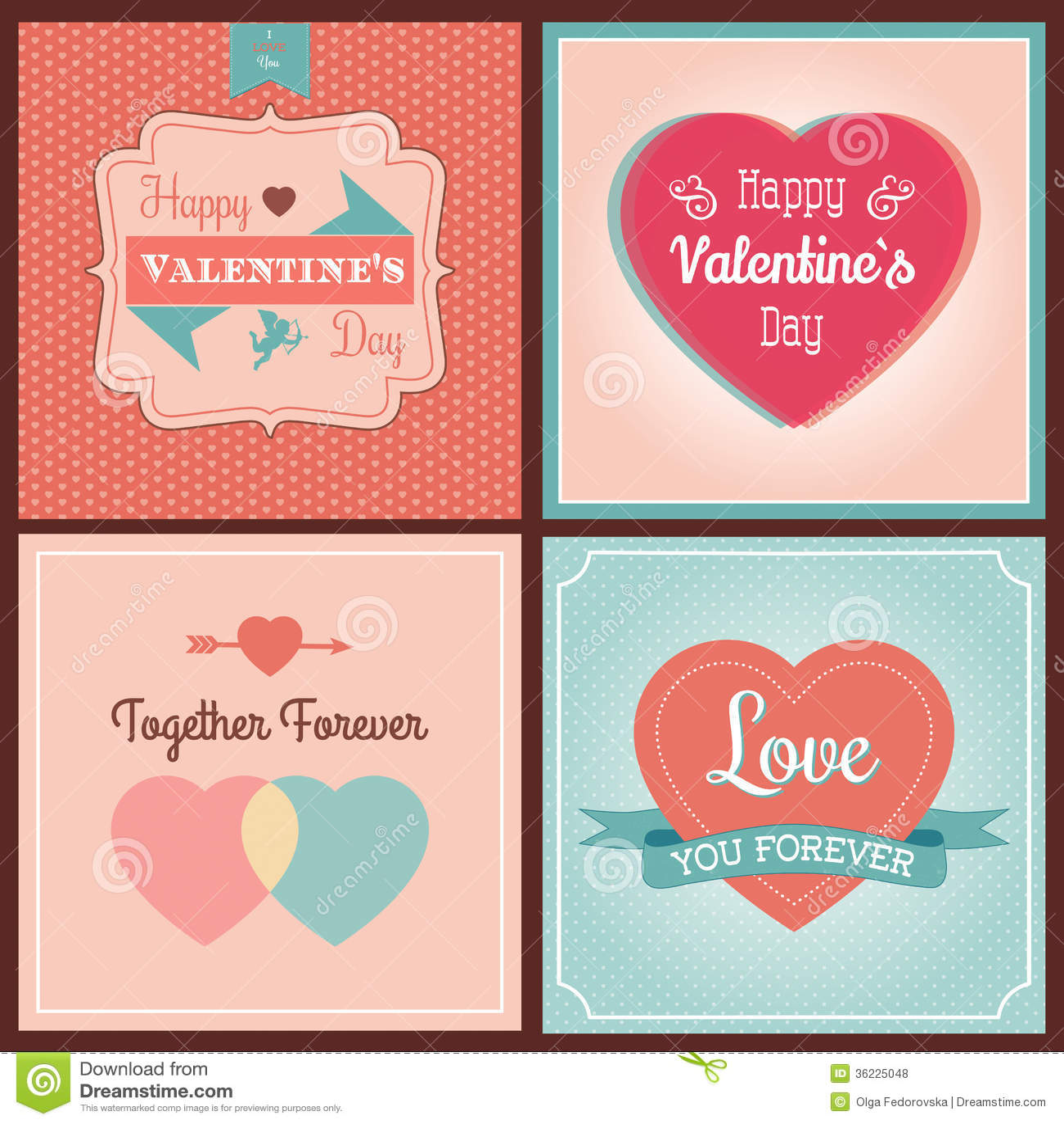Grupo de cartão feliz do dia de Valentim