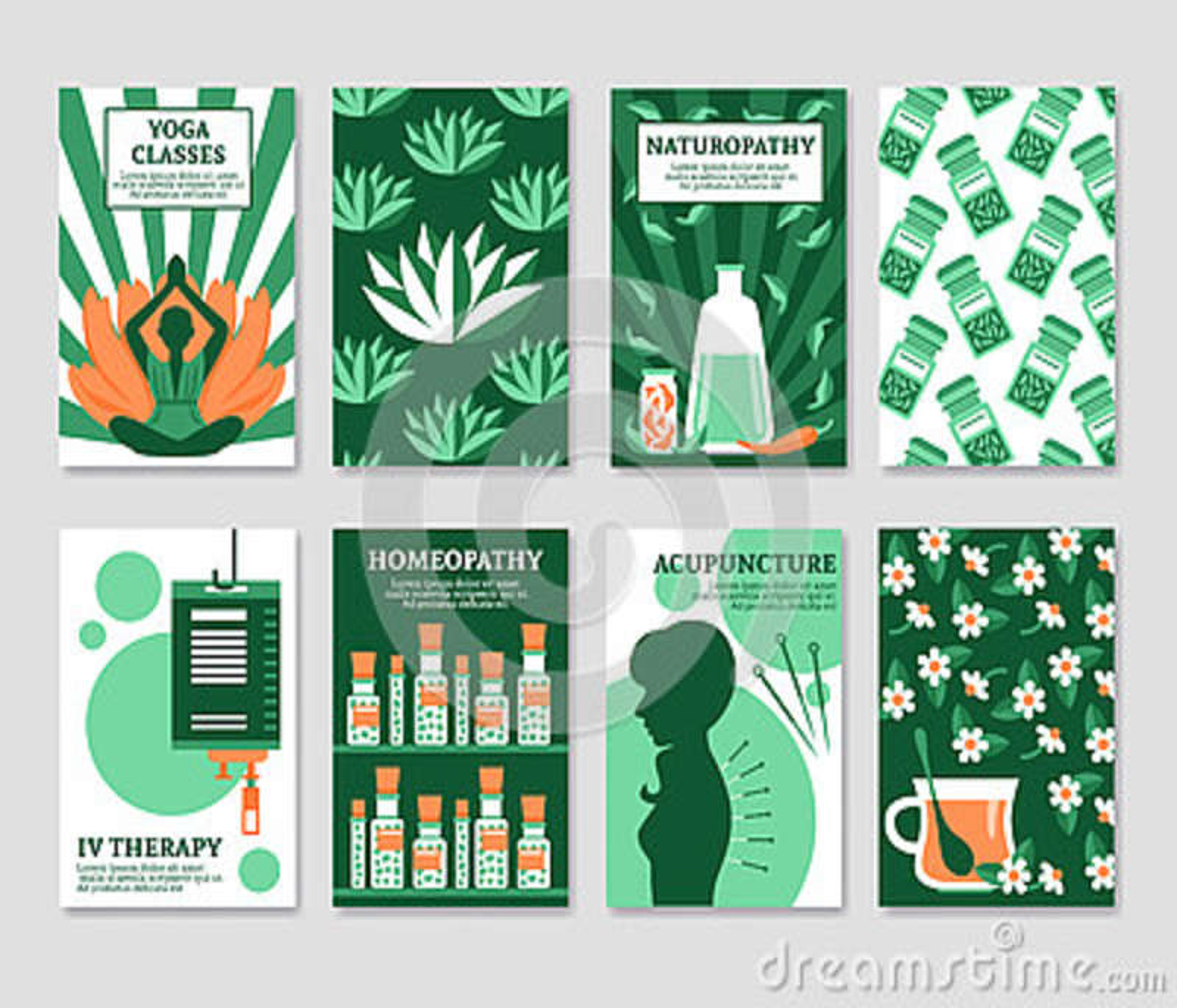 Grupo de cartões da medicina alternativa