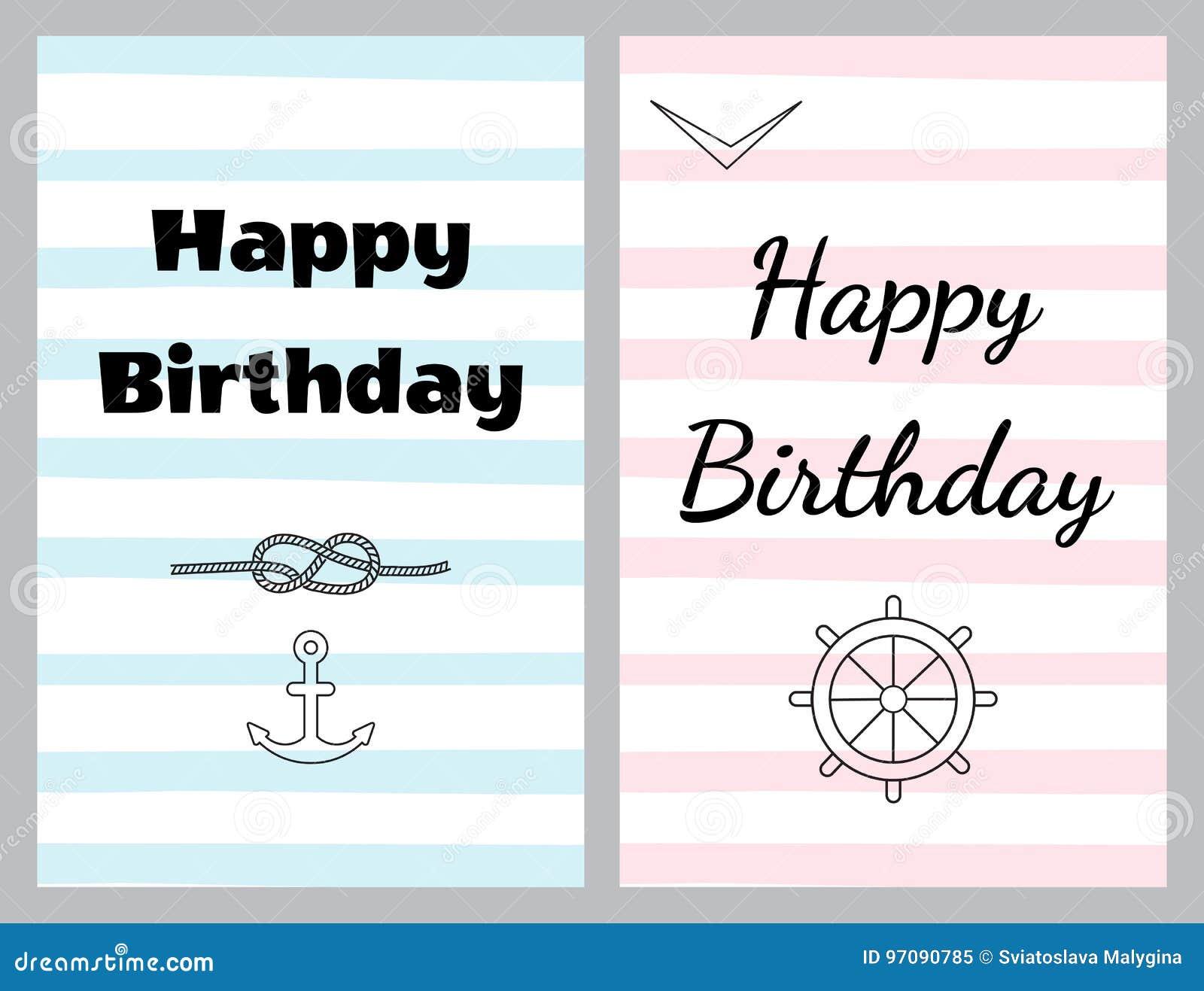 Grupo de cartões de aniversário no estilo do mar