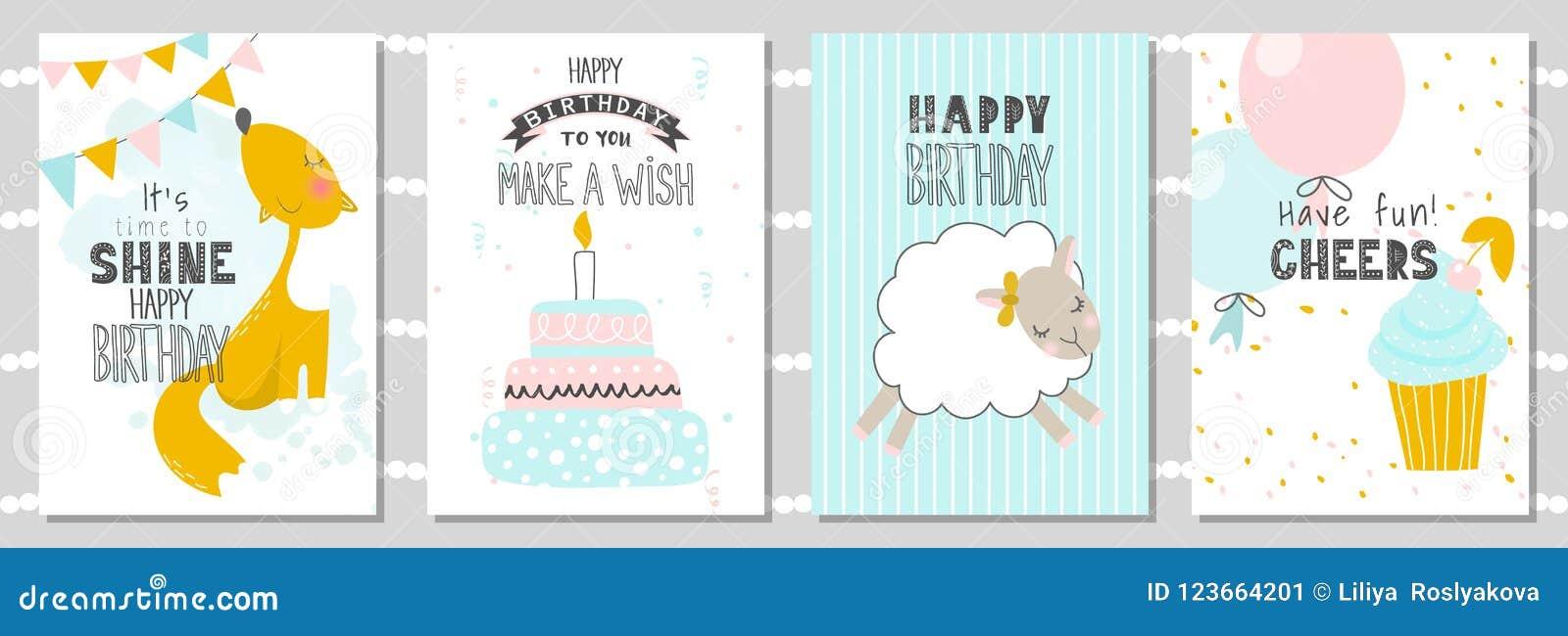 Grupo De Cartões Do Aniversário E De Moldes Do Convite Do Partido