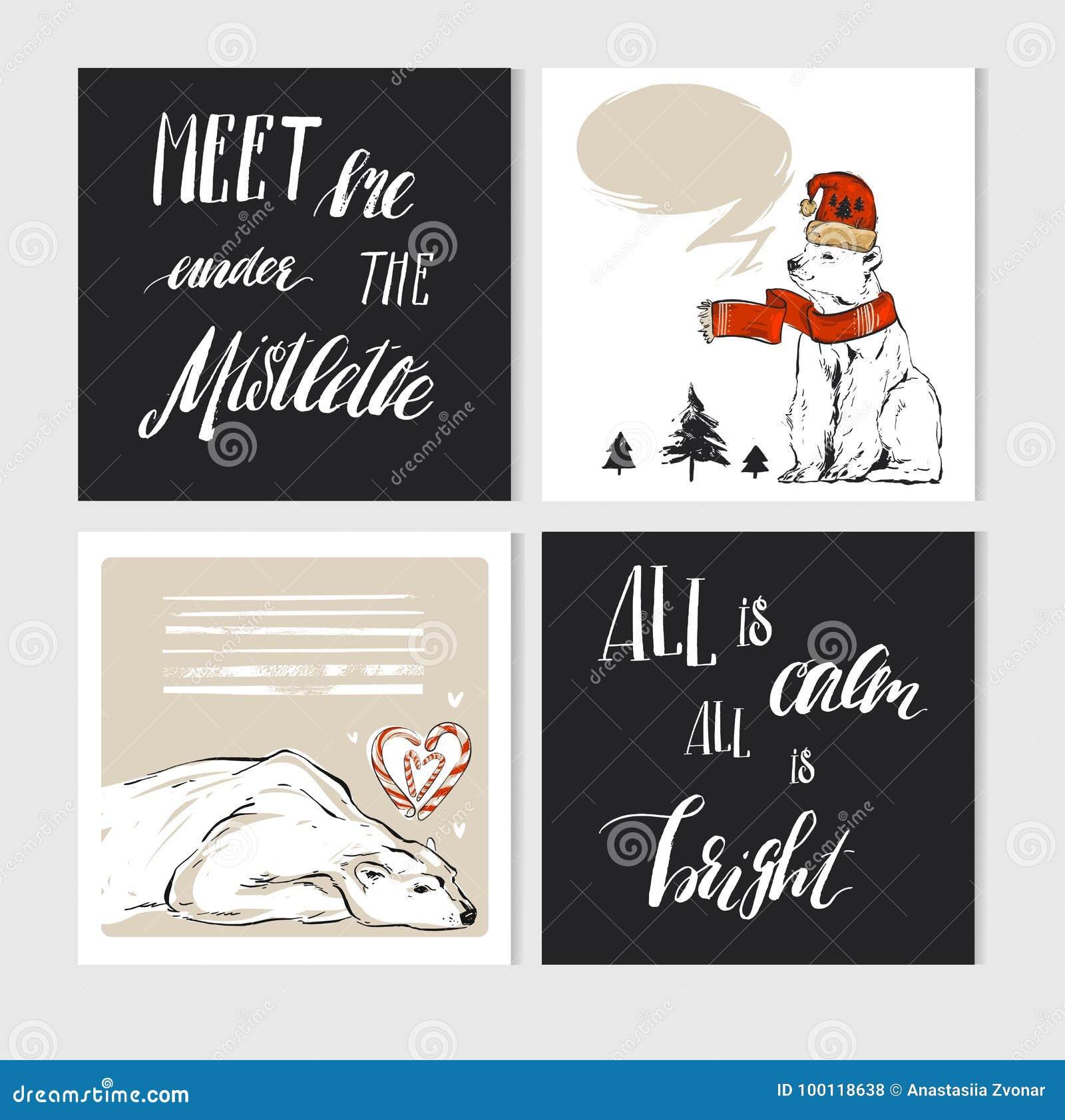 Grupo de cartões feito à mão do Feliz Natal do sumário do vetor com caráteres bonitos do urso polar do xmas na roupa do inverno e
