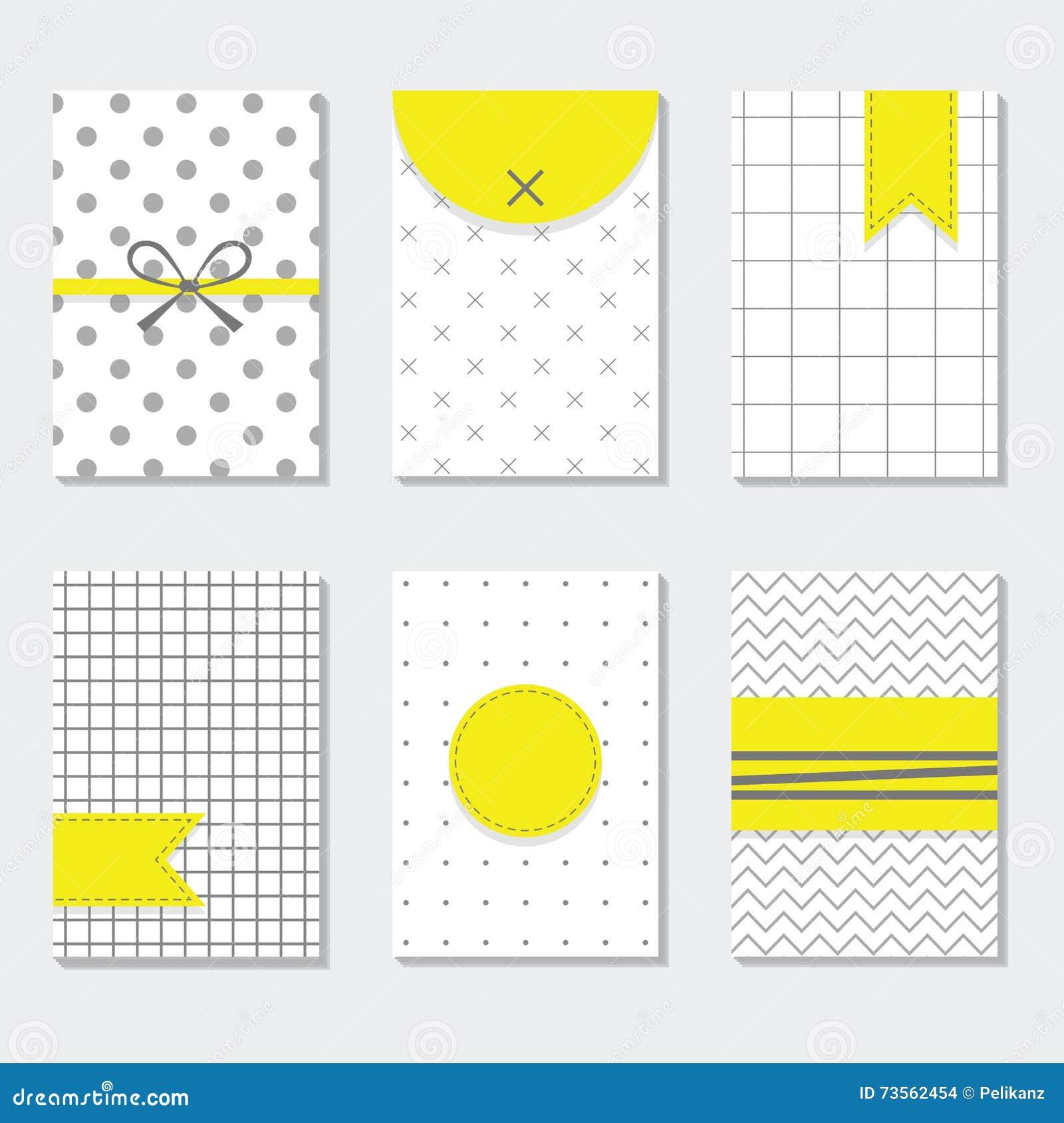 Grupo de cartões na moda cinzento e branco bonito dos testes padrões com etiquetas amarelas