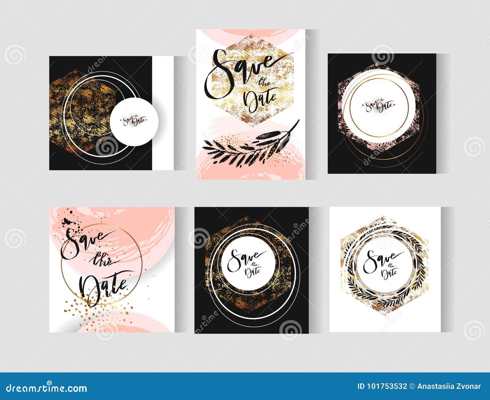 Grupo de cartões perfeitos dos moldes do vetor do sumário do casamento com cores douradas, pasteis, preto e branco Ideal para as