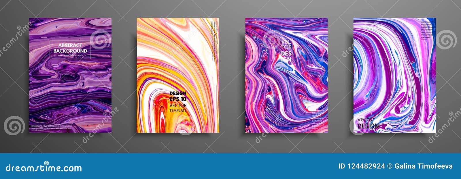Grupo de cartões universais do vetor Textura de mármore líquida Projeto colorido para o convite, cartaz, folheto, cartaz, bandeir