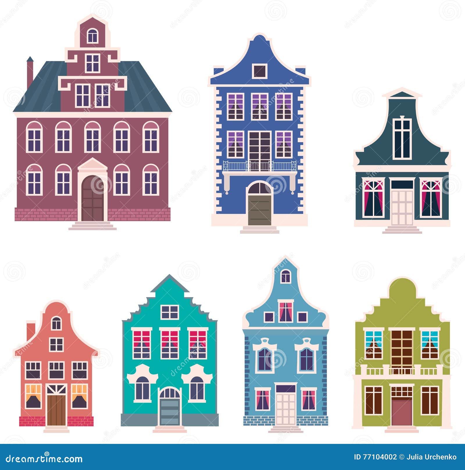 grupo de casas coloridas no vetor holandês dos desenhos animados do