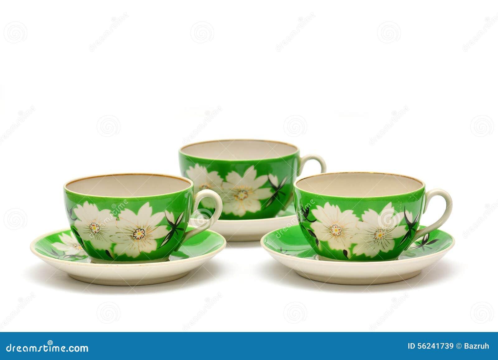 Grupo de chá da porcelana do vintage