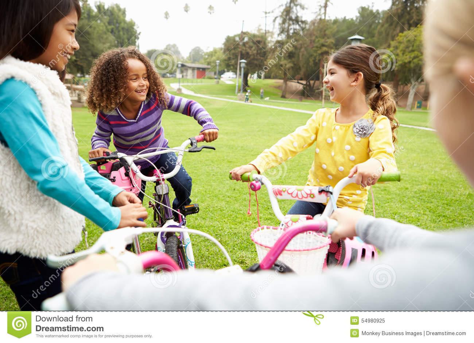 Grupo de chicas jóvenes con las bicis en parque