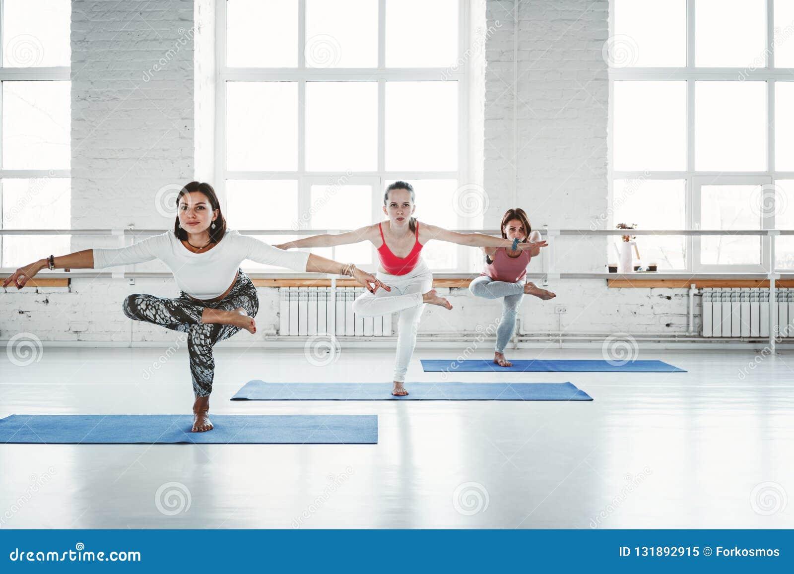 Grupo de clase interior de la mujer de la práctica del ejercicio delgado joven de la yoga Gente que hace la aptitud junta Forma d