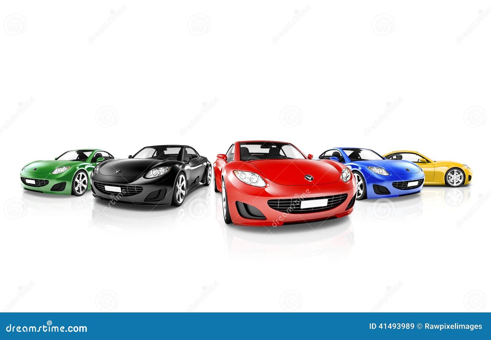 Grupo de coches modernos coloreados multi