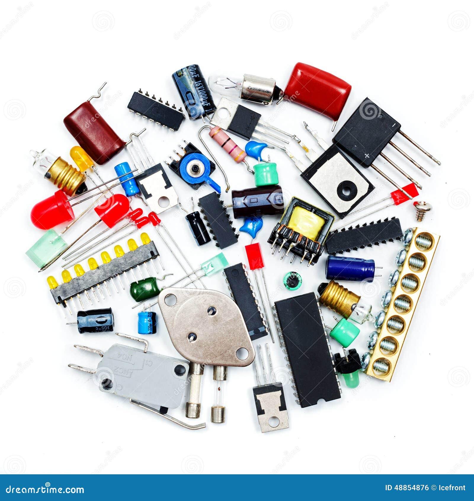 Grupo de componentes eletrônicos