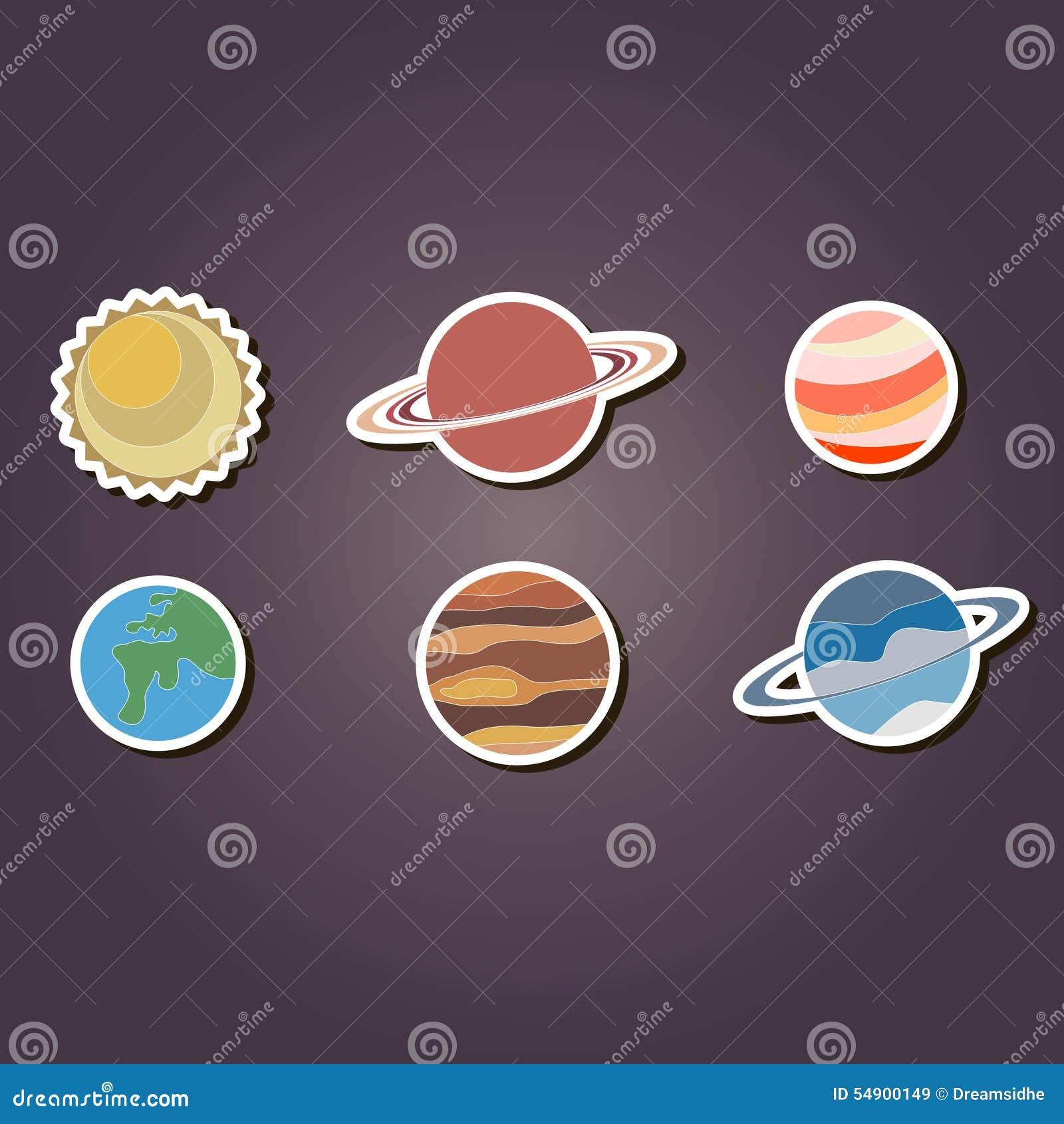 Grupo De ícones Da Cor Com Os Planetas Do Sistema Solar Ilustração do Vetor - Imagem: 54900149