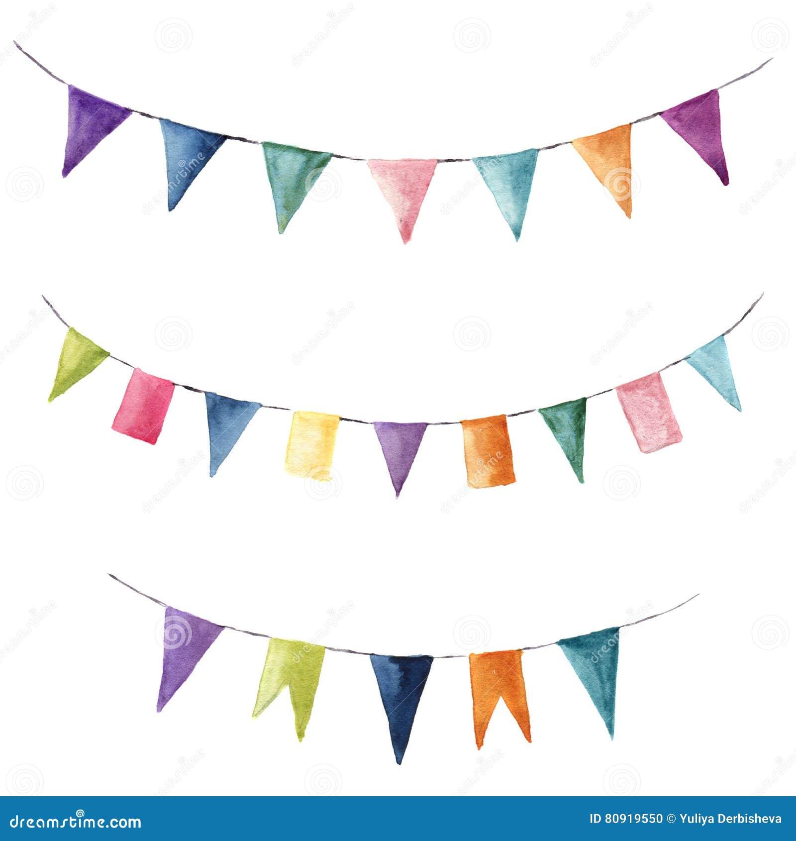 Grupo de cor brilhante da aquarela com festões das bandeiras Party, as crianças party ou os elementos da decoração do casamento i