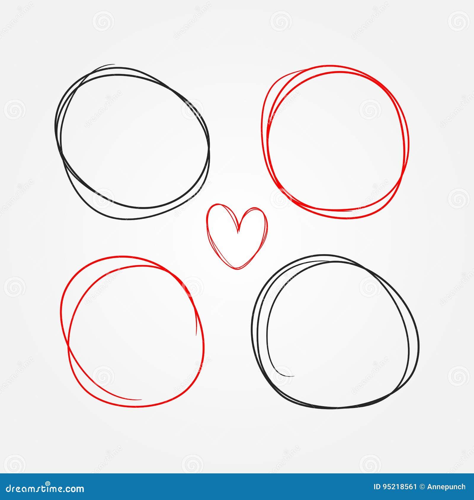 Grupo de coração e de quadros redondos pintados à mão Esboço, garatuja, garrancho
