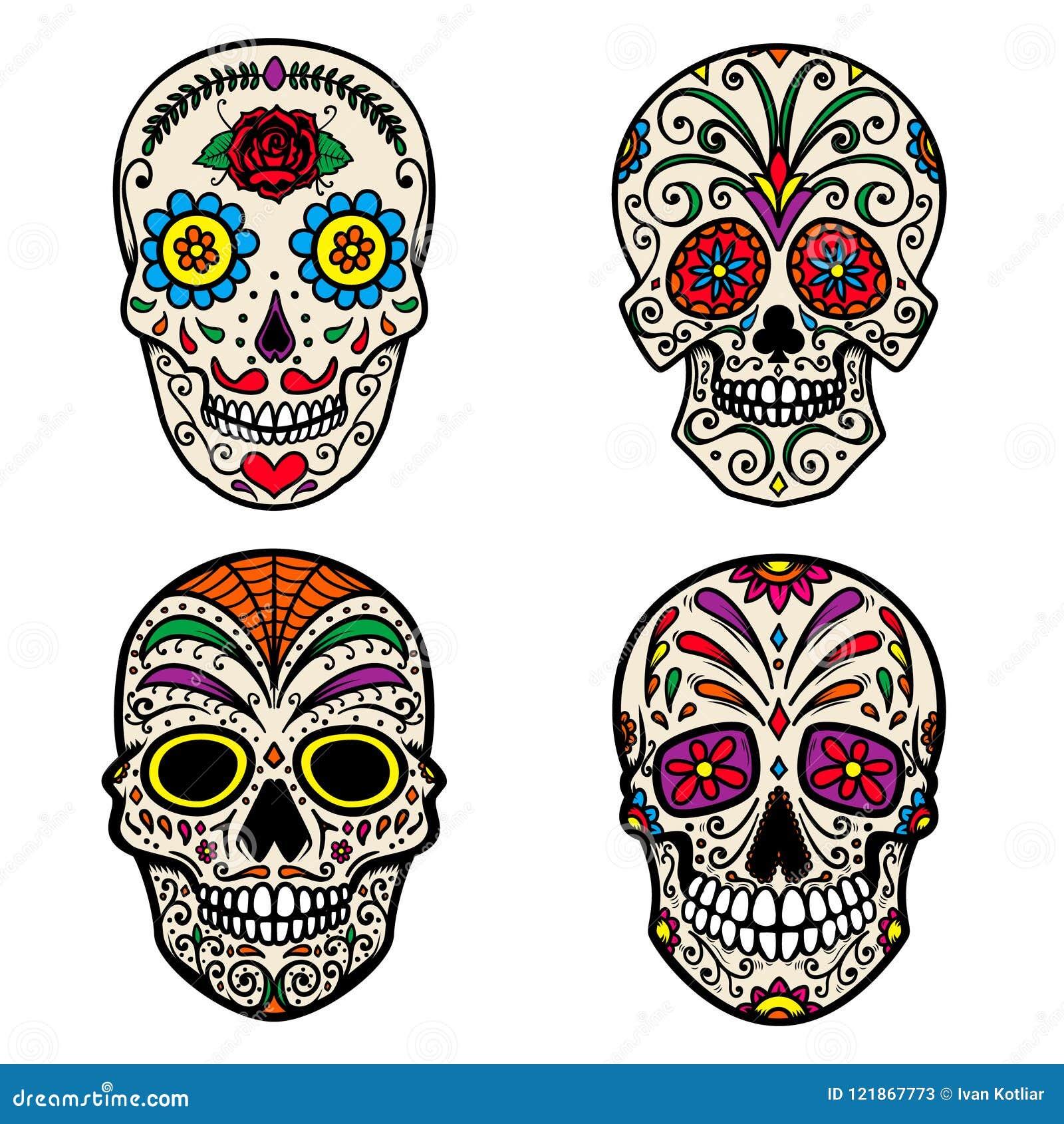 Grupo de crânio colorido do açúcar isolado no fundo branco Dia dos mortos Diâmetro De Los Muertos Projete o elemento para o carta