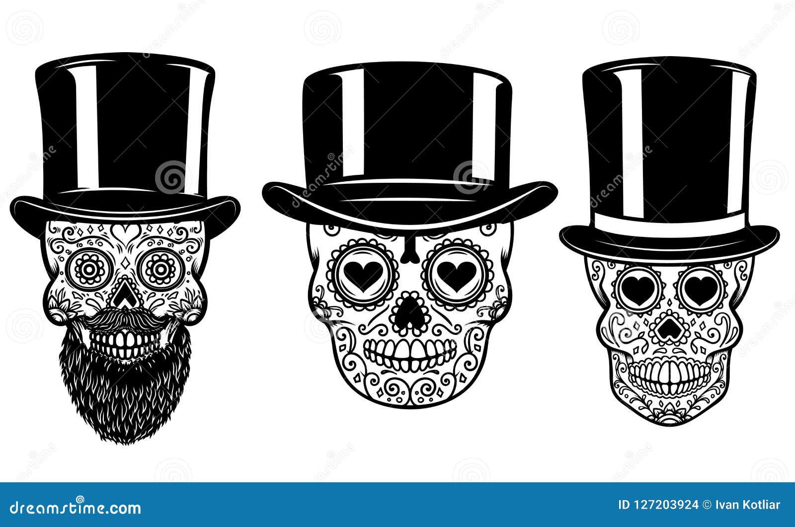 Grupo de crânio mexicano do açúcar no chapéu e nos óculos de sol do vintage Dia dos mortos Projete o elemento para o cartaz, cart