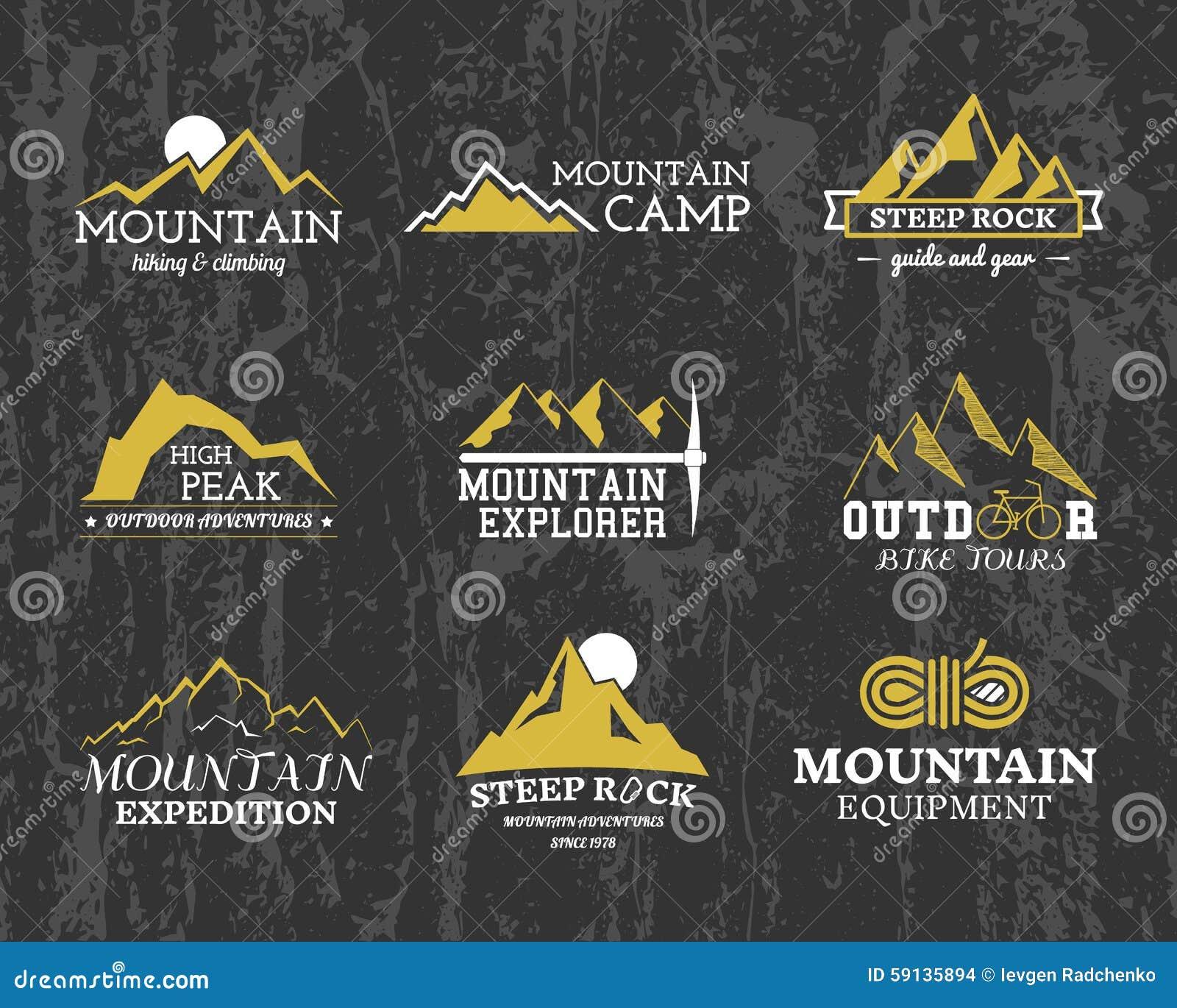 Grupo de crachá do acampamento do explorador da montanha do inverno do verão