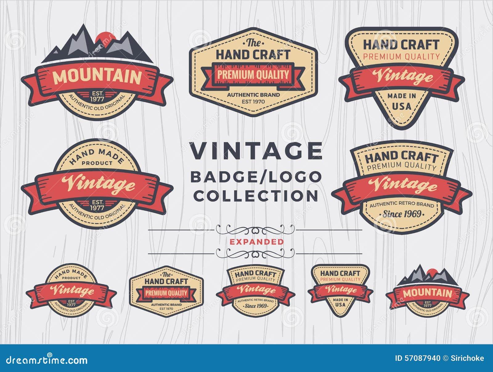 Grupo de crachá do vintage/projeto do logotipo, projeto retro do crachá para o logotipo