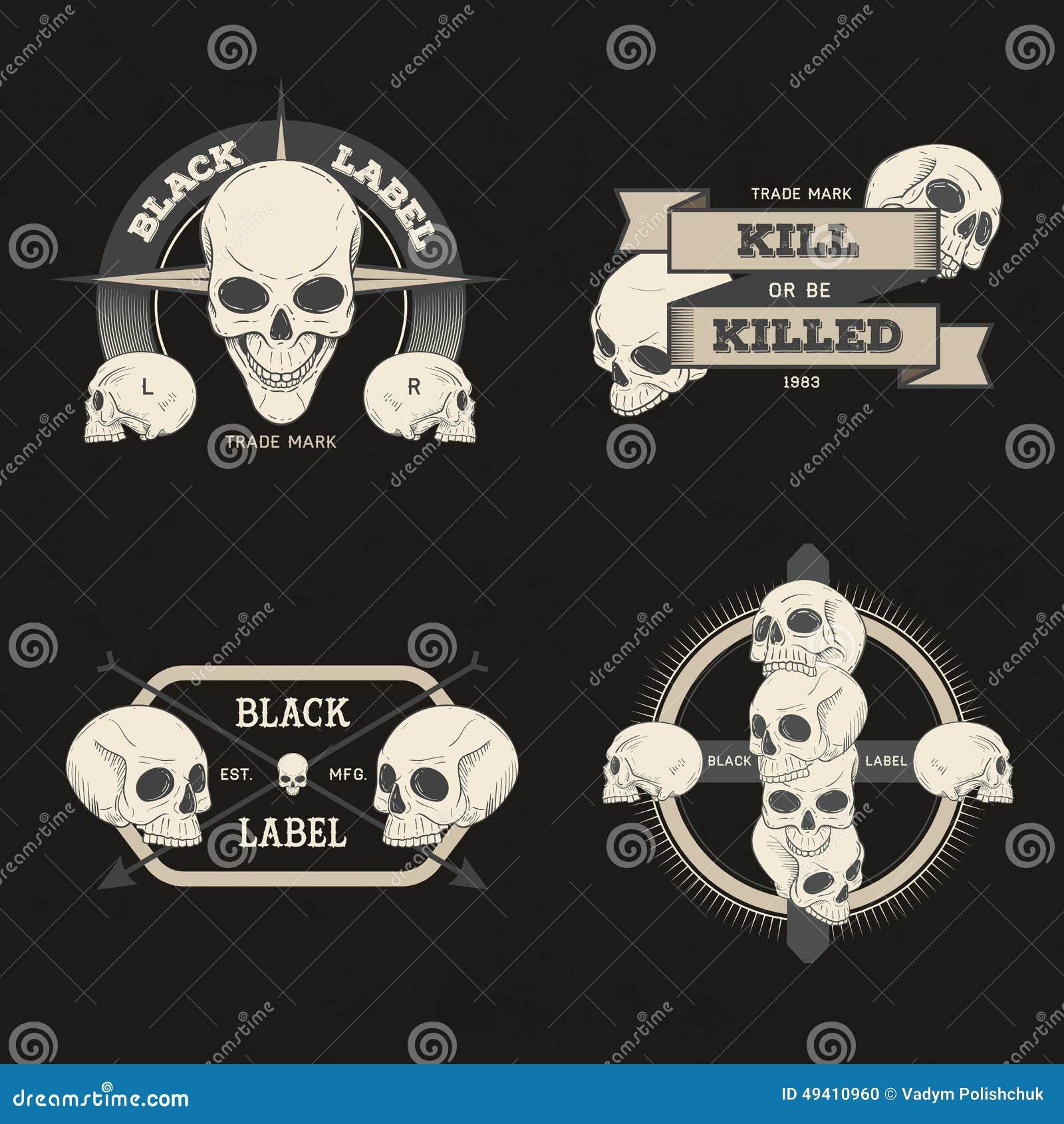 Grupo de crachá retro, de símbolo ou de logotype do vintage com crânio