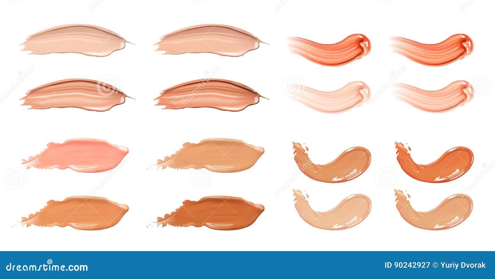 Grupo de creme líquido cosmético da fundação ou do caramelo em cursos diferentes da mancha do borrão da cor Compõe as manchas iso