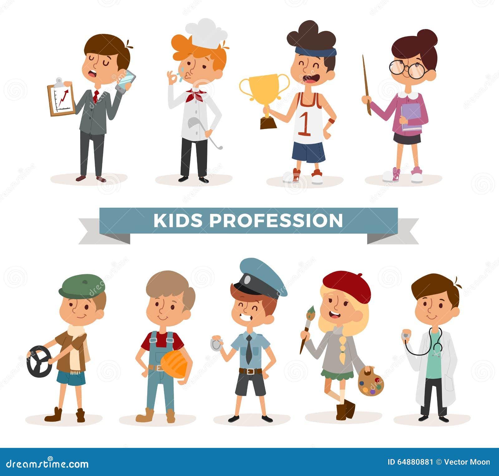 Grupo De Crianças Bonitos Das Profissões Dos Desenhos