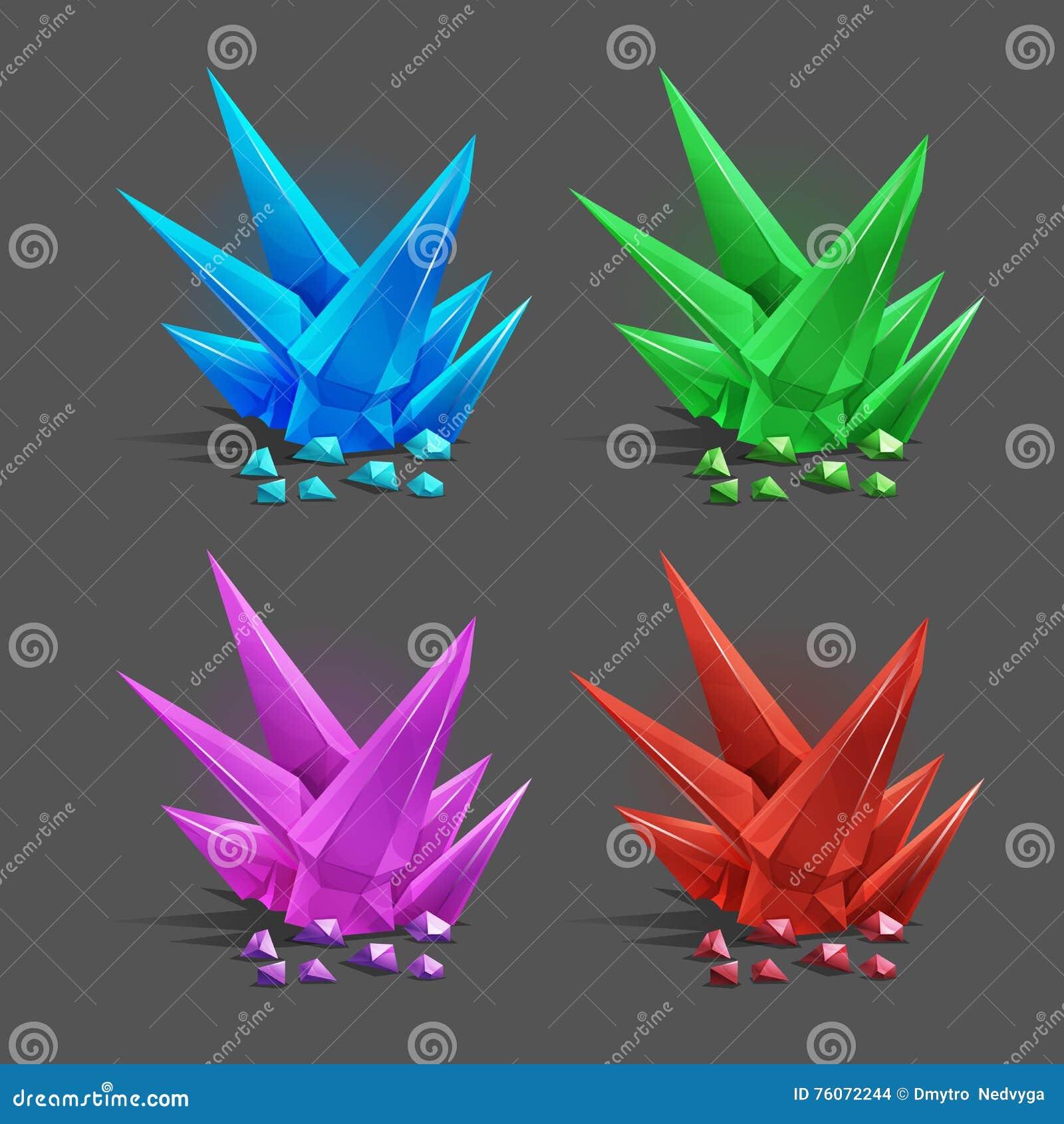 Grupo de cristais diferentes dos desenhos animados dos recursos do jogo