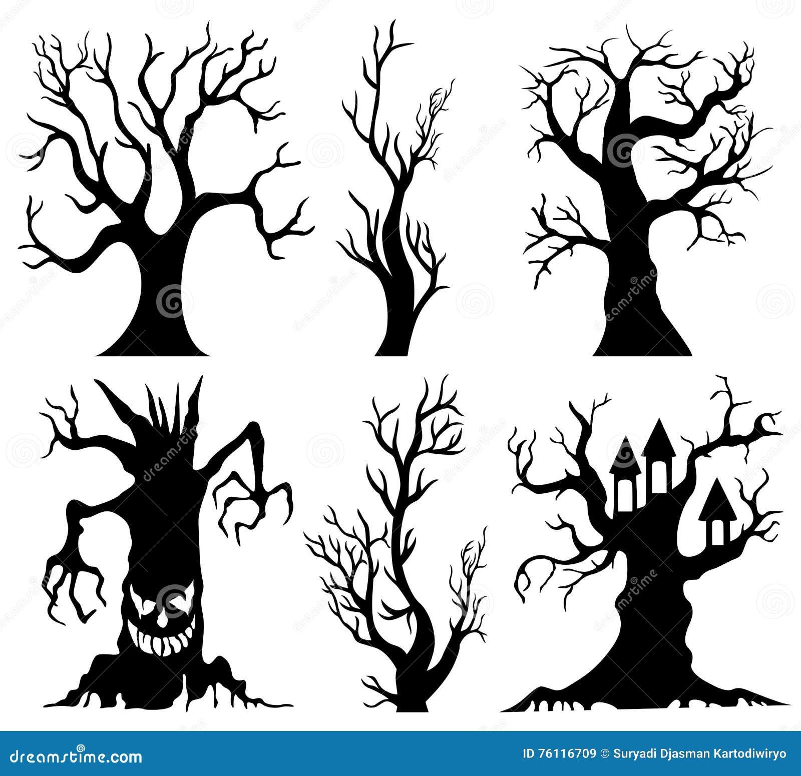 grupo de desenhos animados assustadores da árvore de dia das bruxas