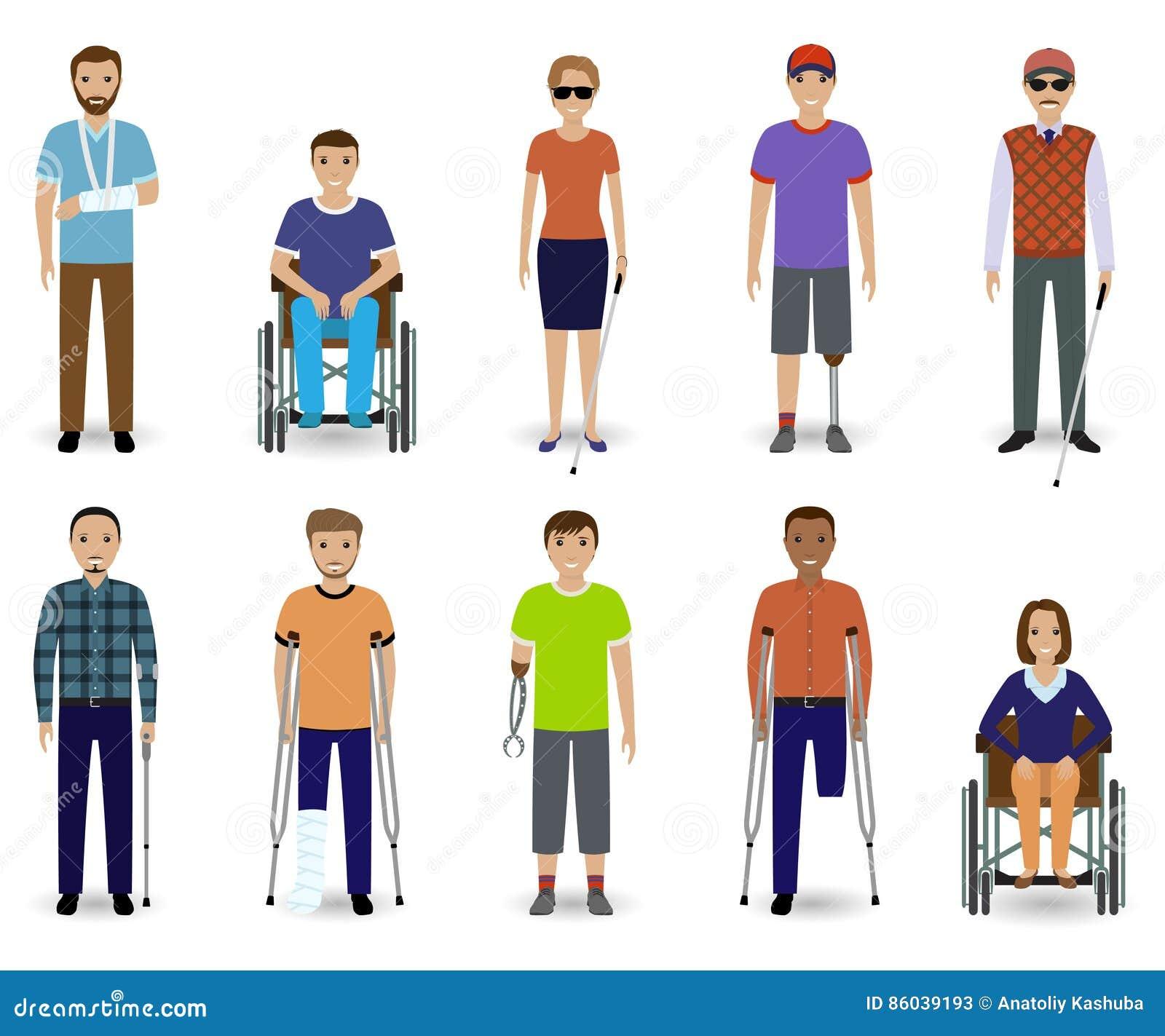 Grupo de dez deficientes motores dos caráteres Conceito da inabilidade Grupo de homem e de homens inválidos fêmeas