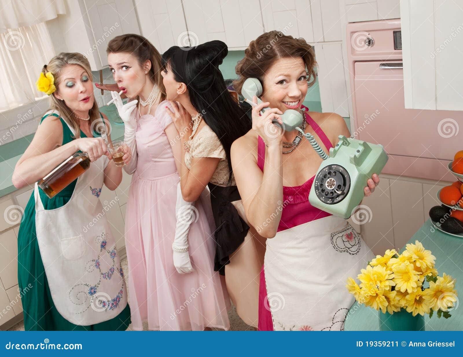 Grupo de donas de casa retros