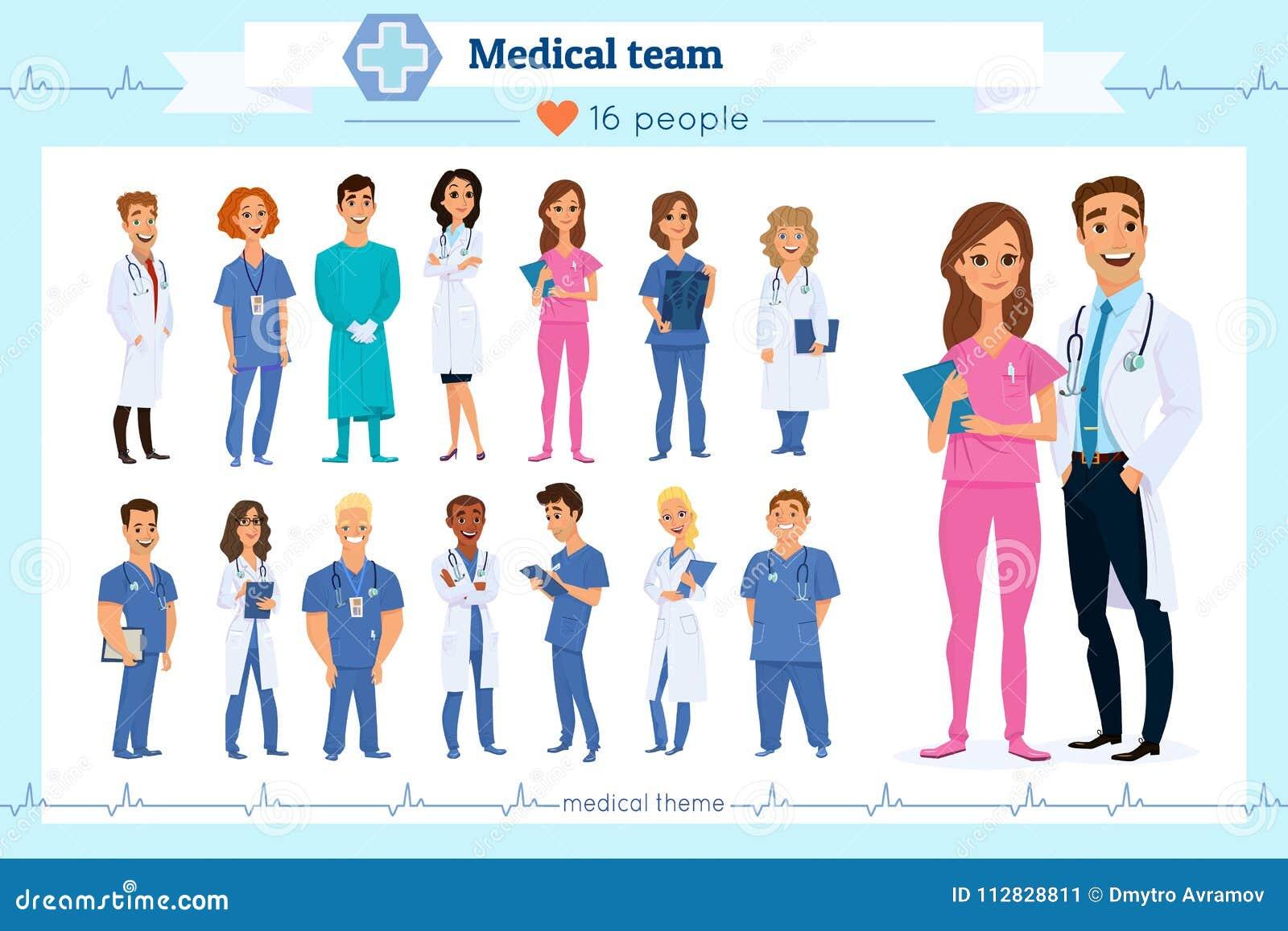 Grupo de doutores do grupo, enfermeiras e povos de pessoal médico, isolados no branco Nacionalidades diferentes Estilo liso Equip
