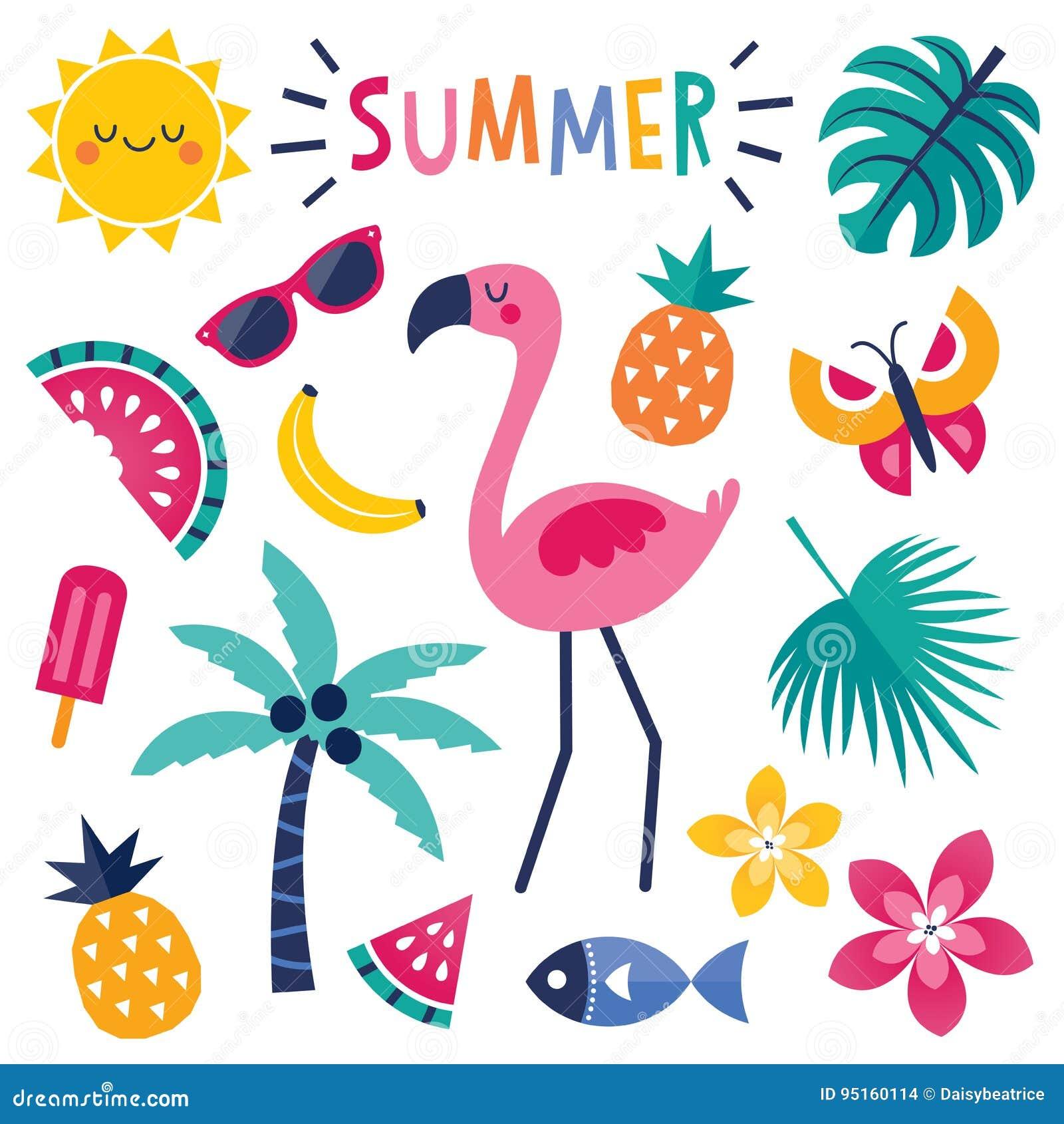 Grupo de elementos coloridos do verão com o flamingo cor-de-rosa isolado