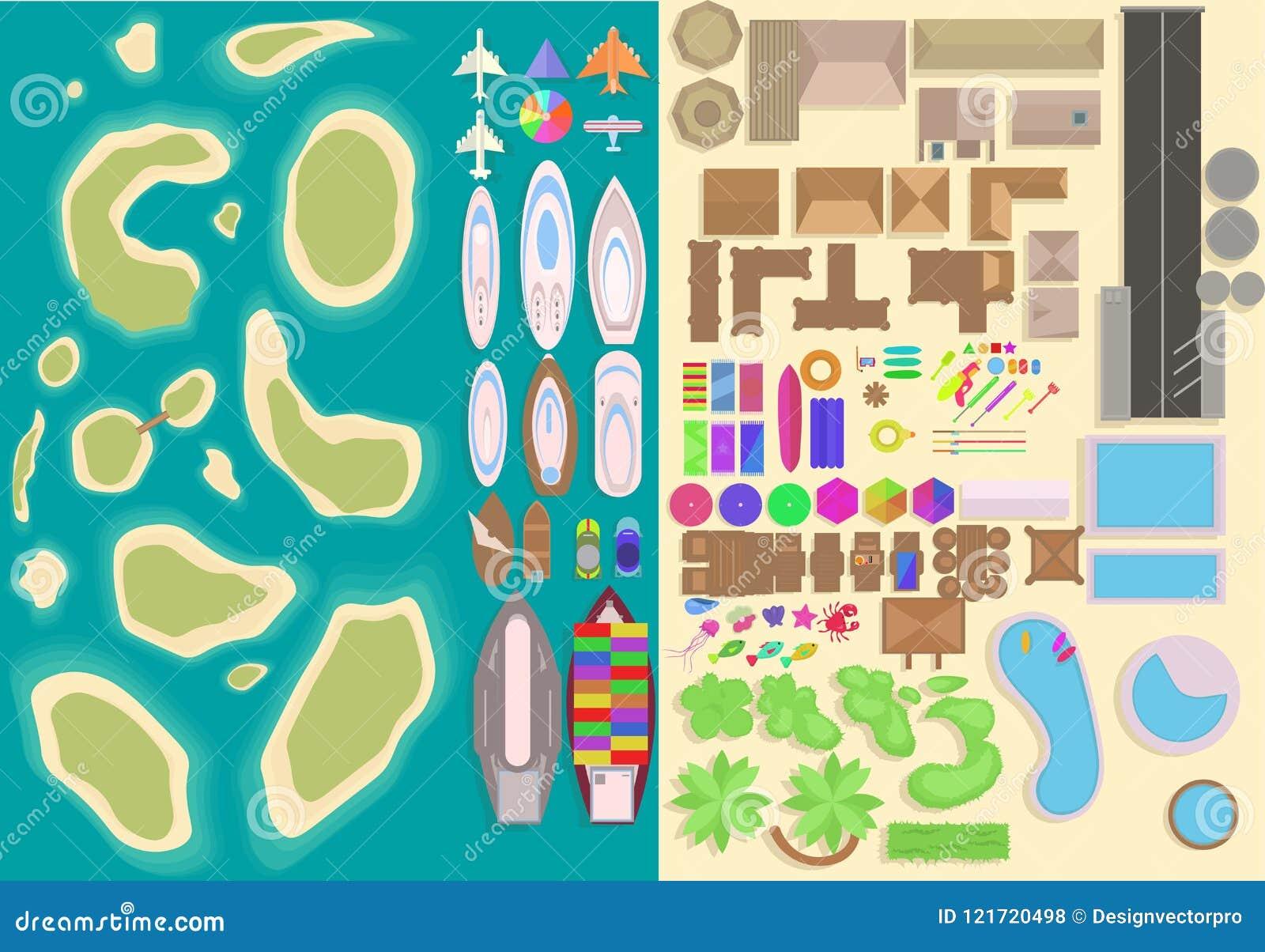 Grupo de elementos da opinião superior da ilha Elementos das férias dos desenhos animados Landsca