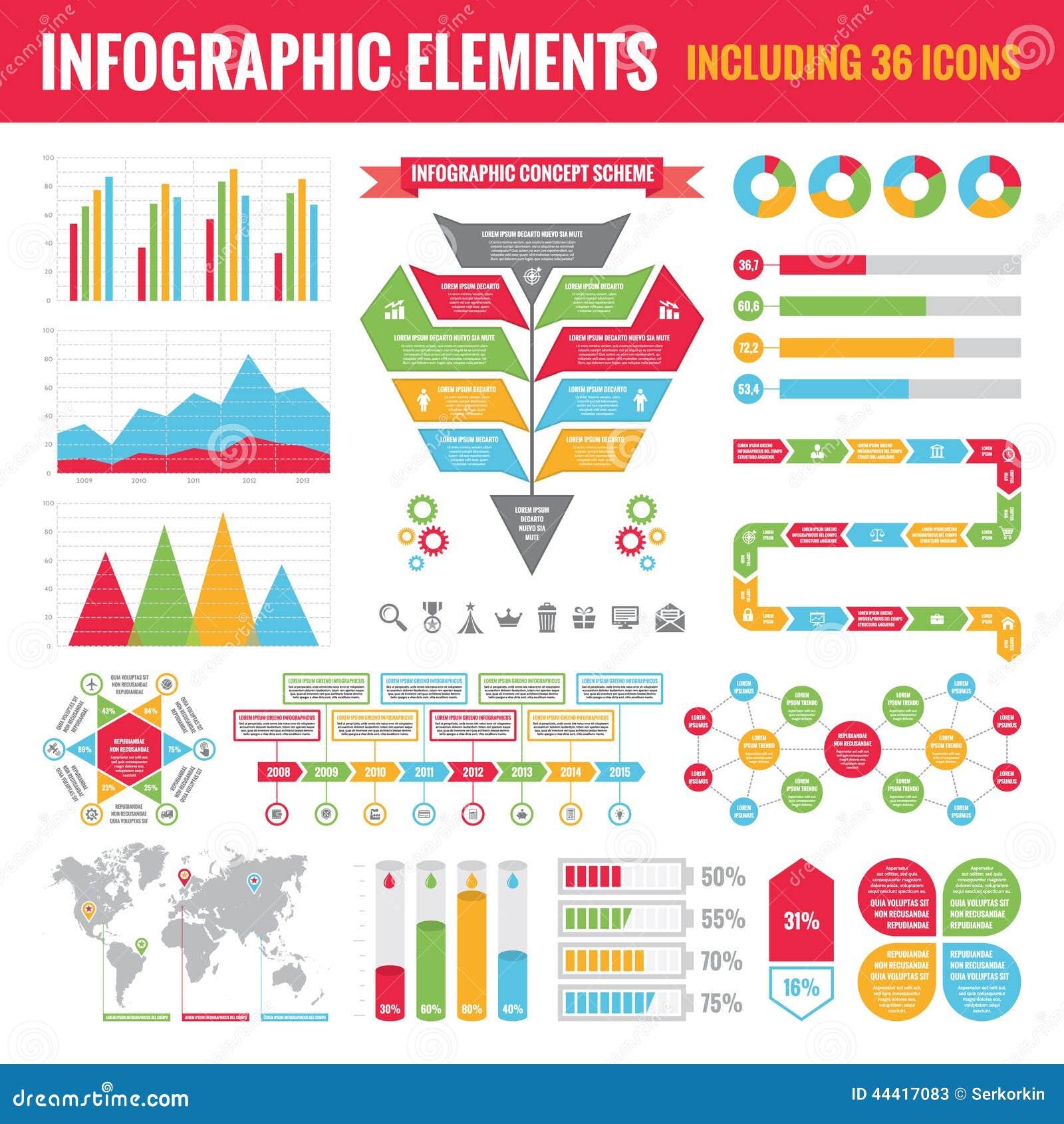 Grupo de elementos de Infographic (que incluem 36 ícones) - Vector a ilustração do conceito