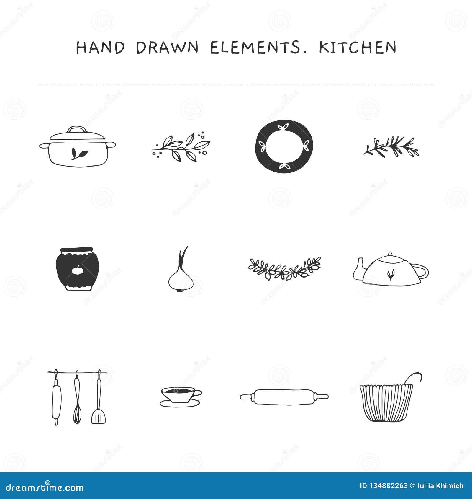 Grupo de elementos do logotipo da cozinha Objetos tirados mão do vetor