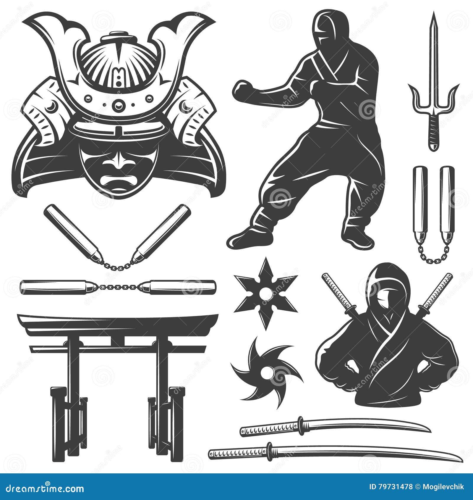 Grupo de elementos do samurai do combate