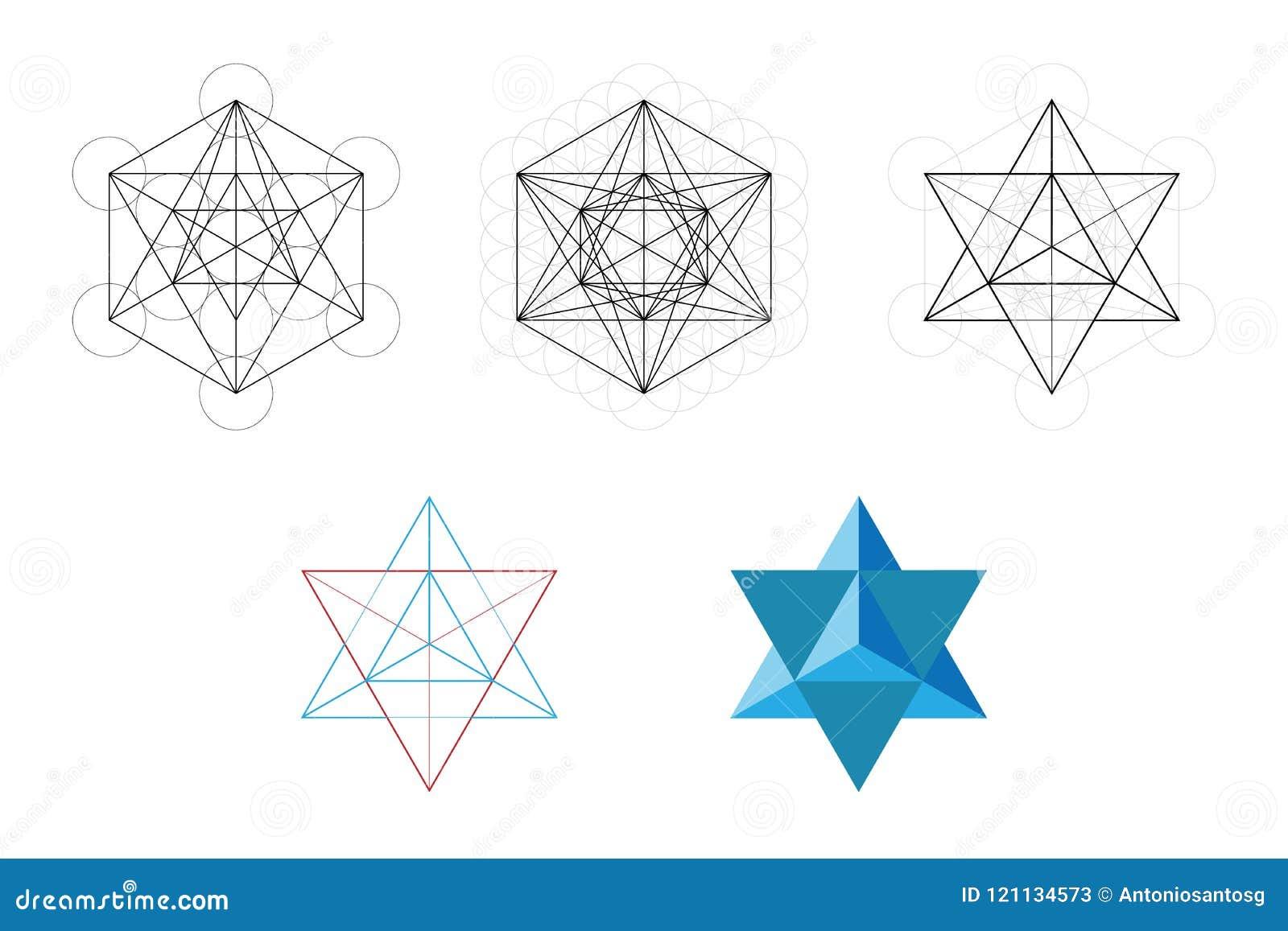 Grupo de elementos e de formas geométricos Desenvolvimento sagrado da estrela de Davids da geometria do cubo de Metatron