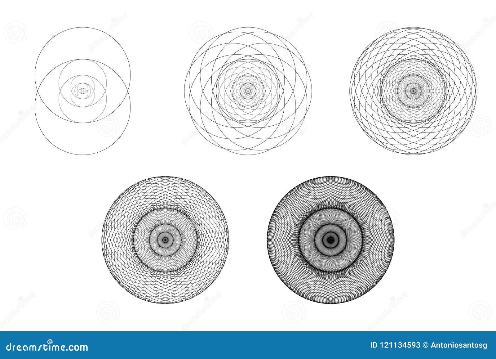 Grupo de elementos e de formas geométricos Desenvolvimento sagrado e evolução de Piscis da bexiga da geometria