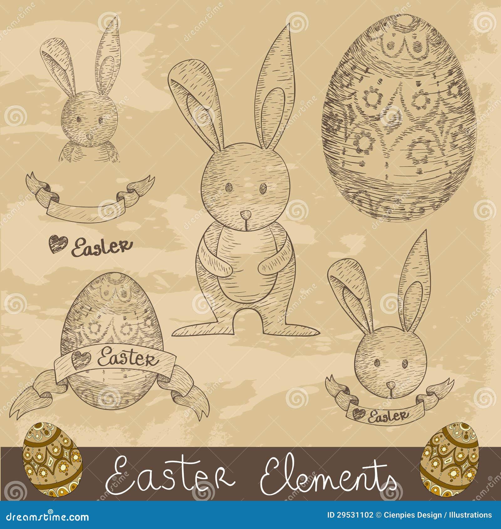 Grupo de elementos feliz de Easter do vintage