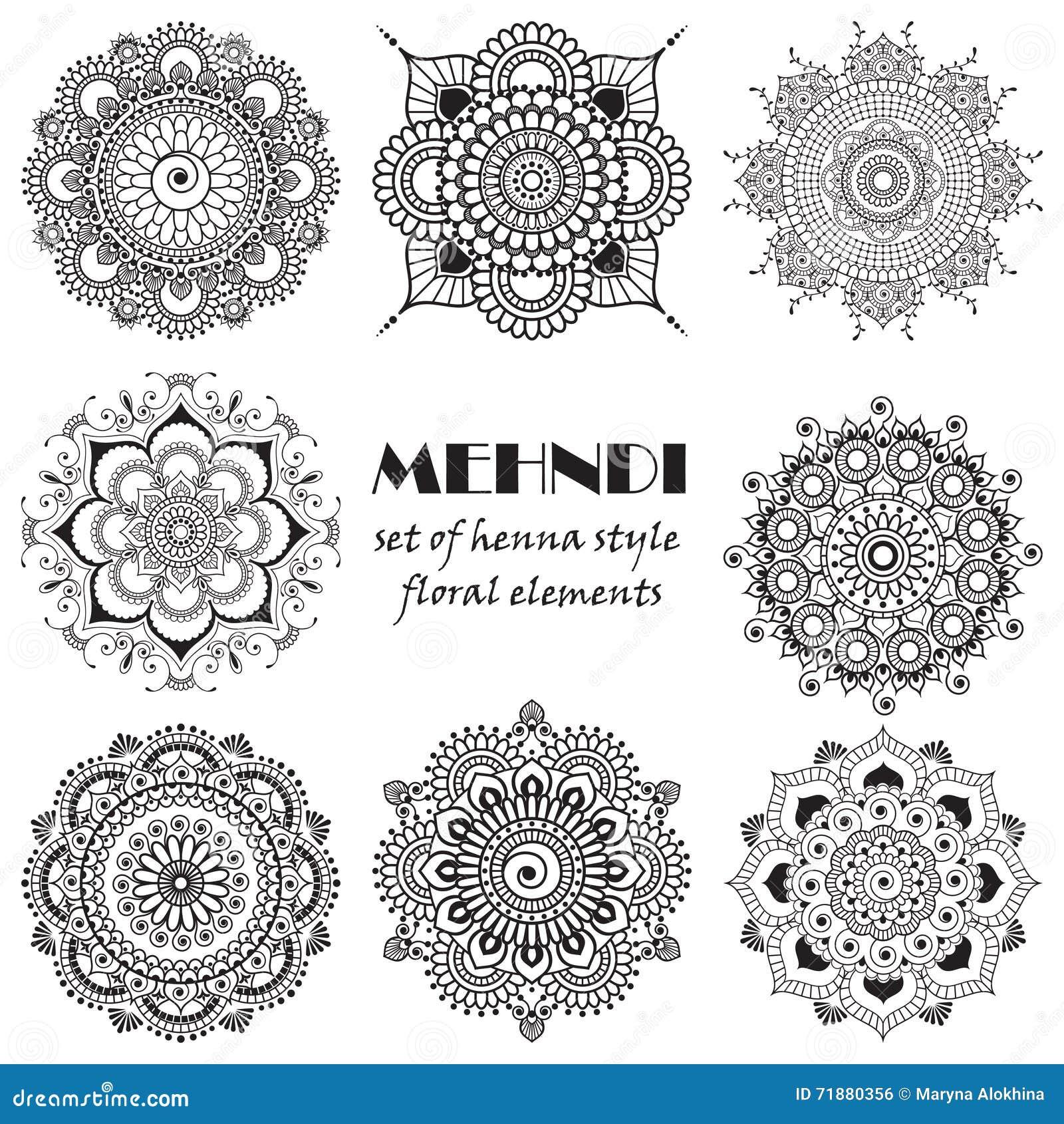Grupo de elementos florais da hena baseados em ornamento asiáticos tradicionais A tatuagem de Paisley Mehndi rabisca a coleção