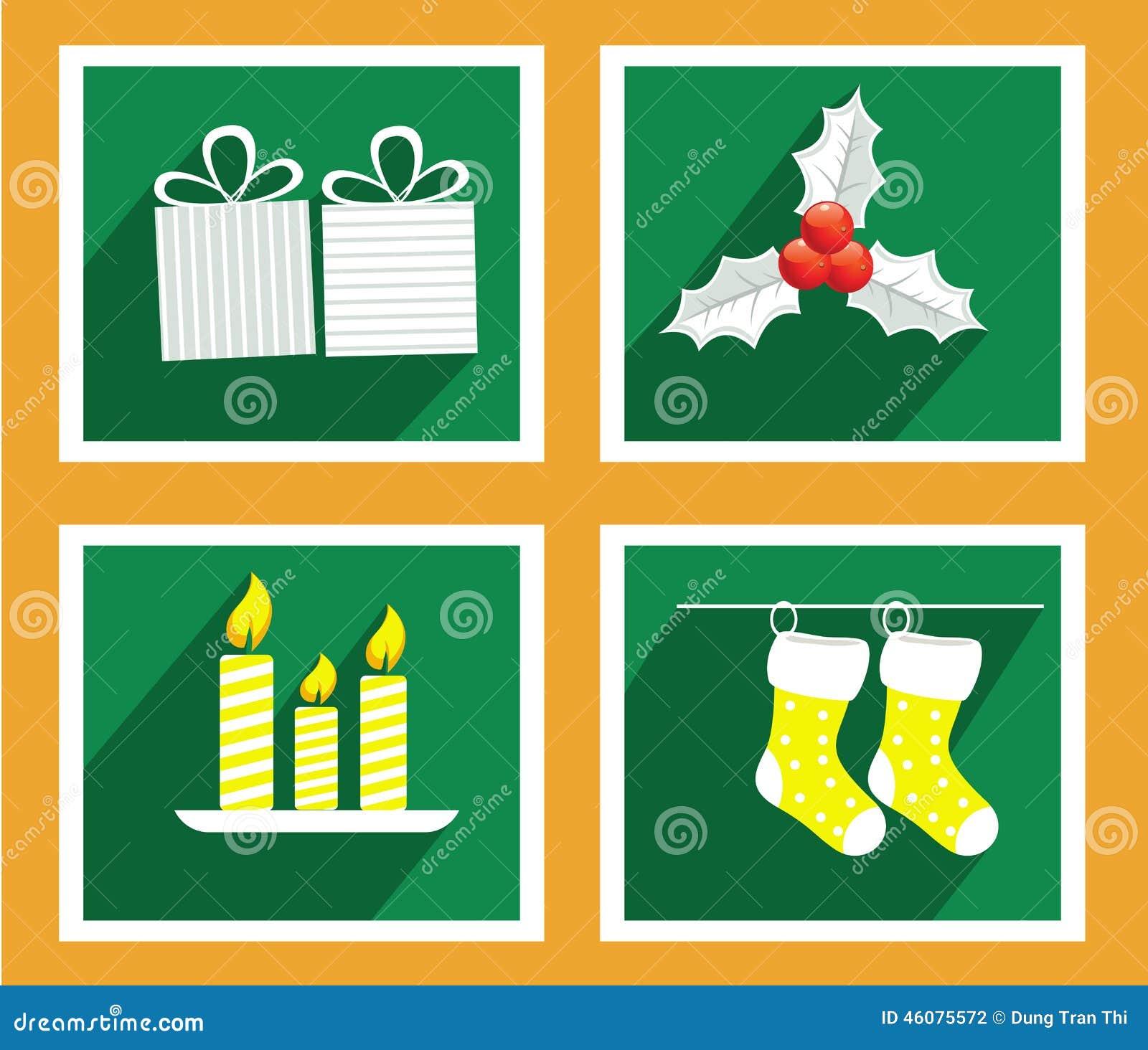 Grupo de elementos para cartões do Natal e do ano novo