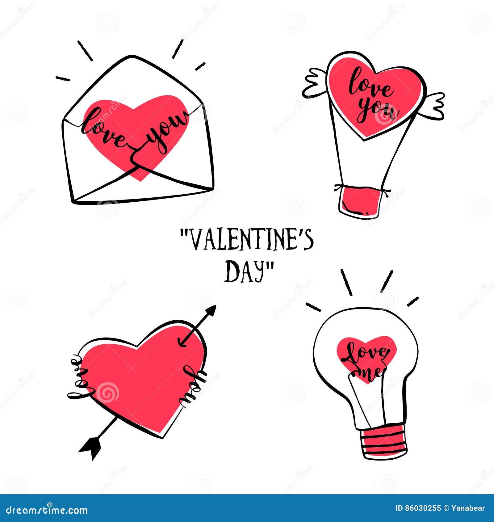 Grupo De Emblemas Da Tatuagem Para O Dia Do S Do Valentim