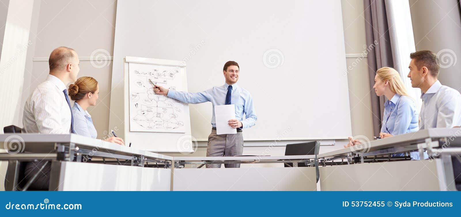 Grupo de empresarios sonrientes que se encuentran en oficina