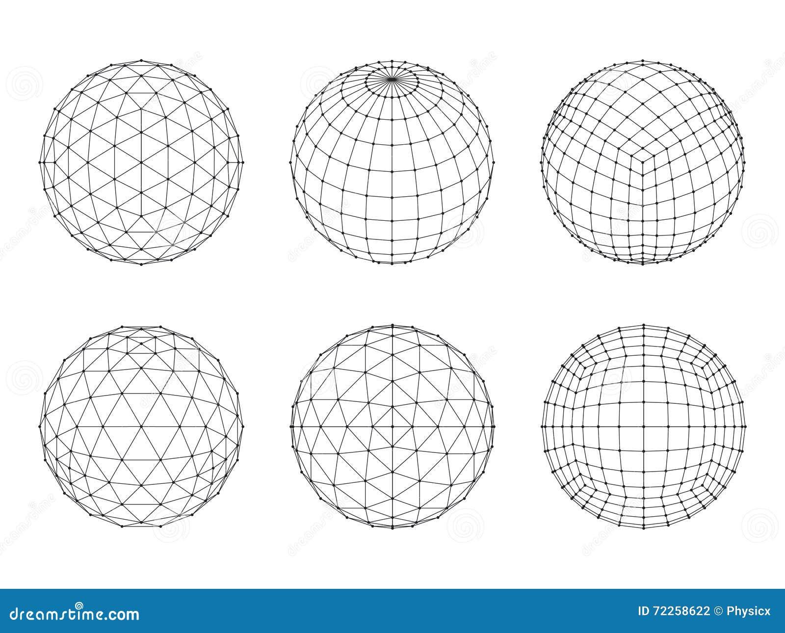 Grupo de esferas da malha de Wireframe